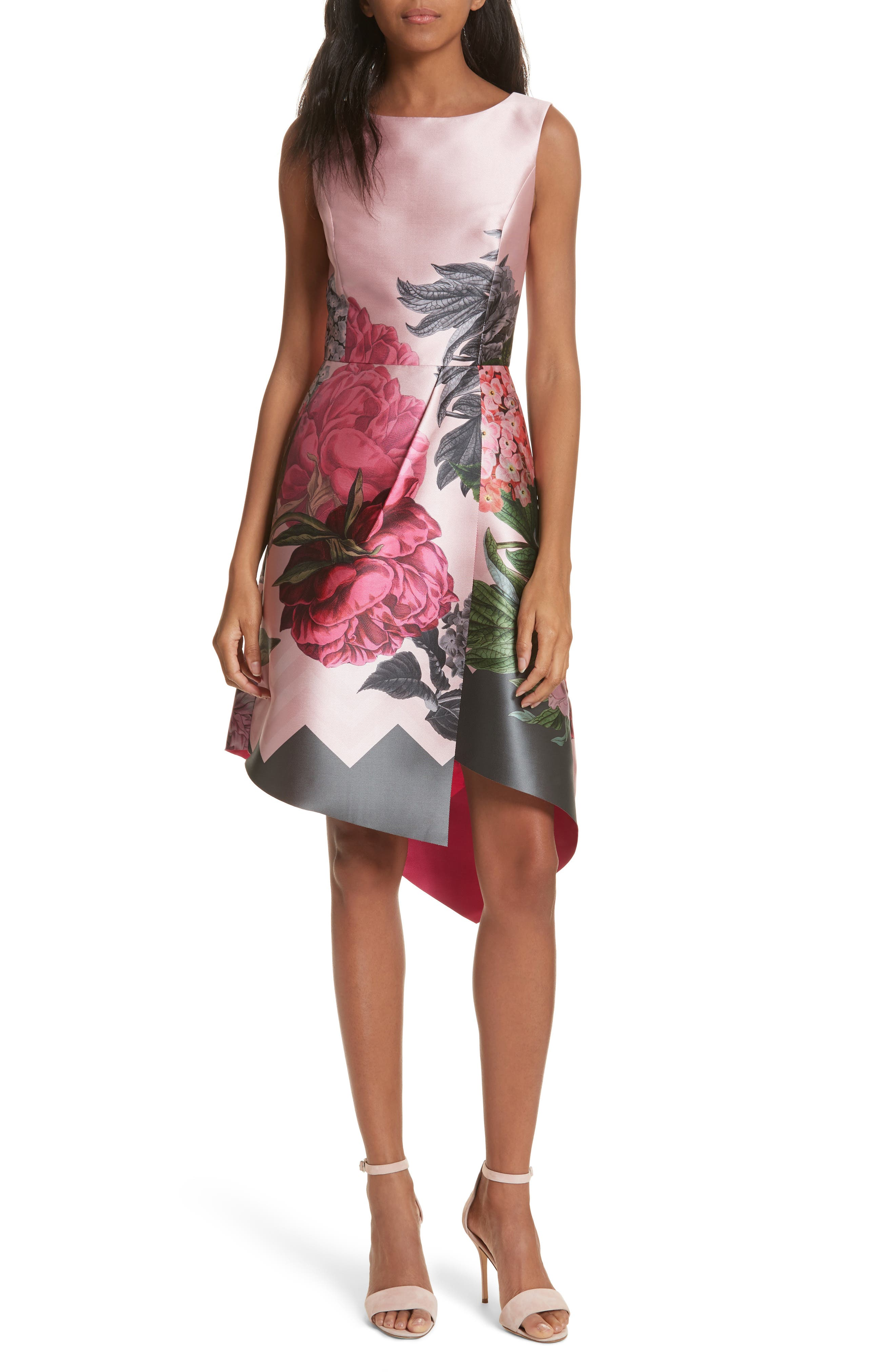 Palace Garden Faux Wrap Dress,                             Main thumbnail 1, color,                             Grey
