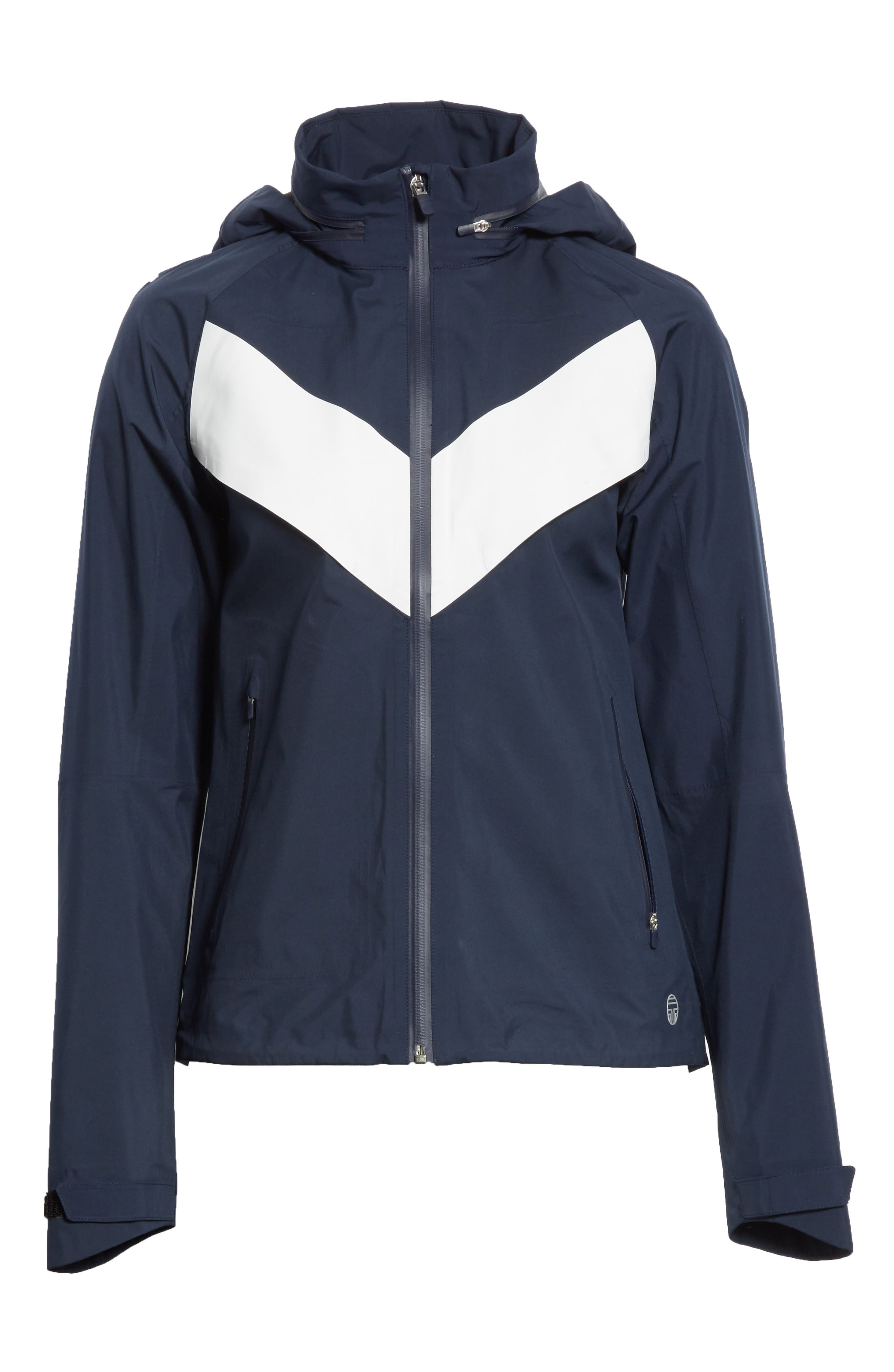 All Weather Run Jacket,                             Alternate thumbnail 7, color,                             Tory Navy/ White Snow