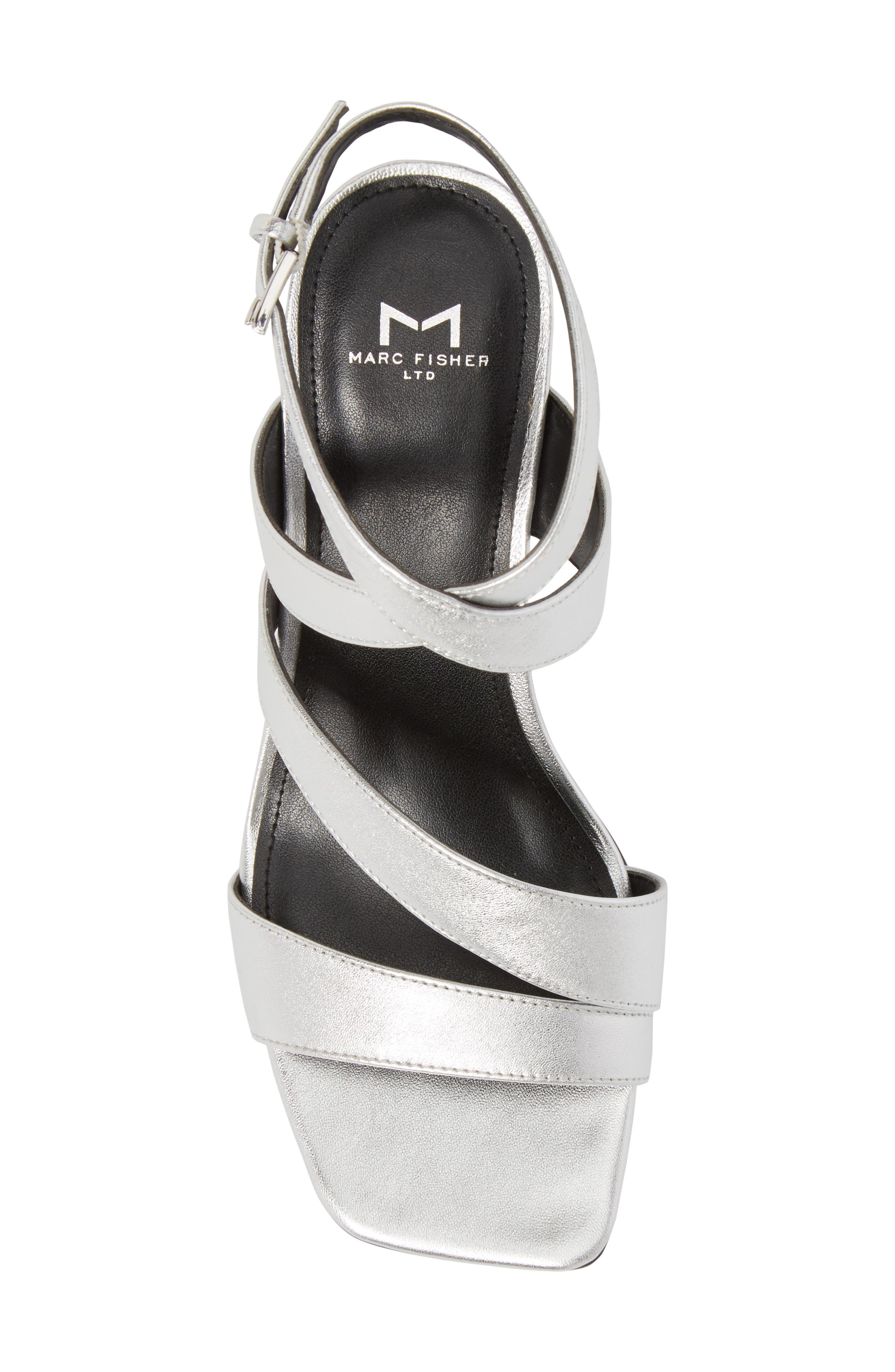 Marc Fischer LTD Idana Strappy Sandal,                             Alternate thumbnail 5, color,                             Silver Leather