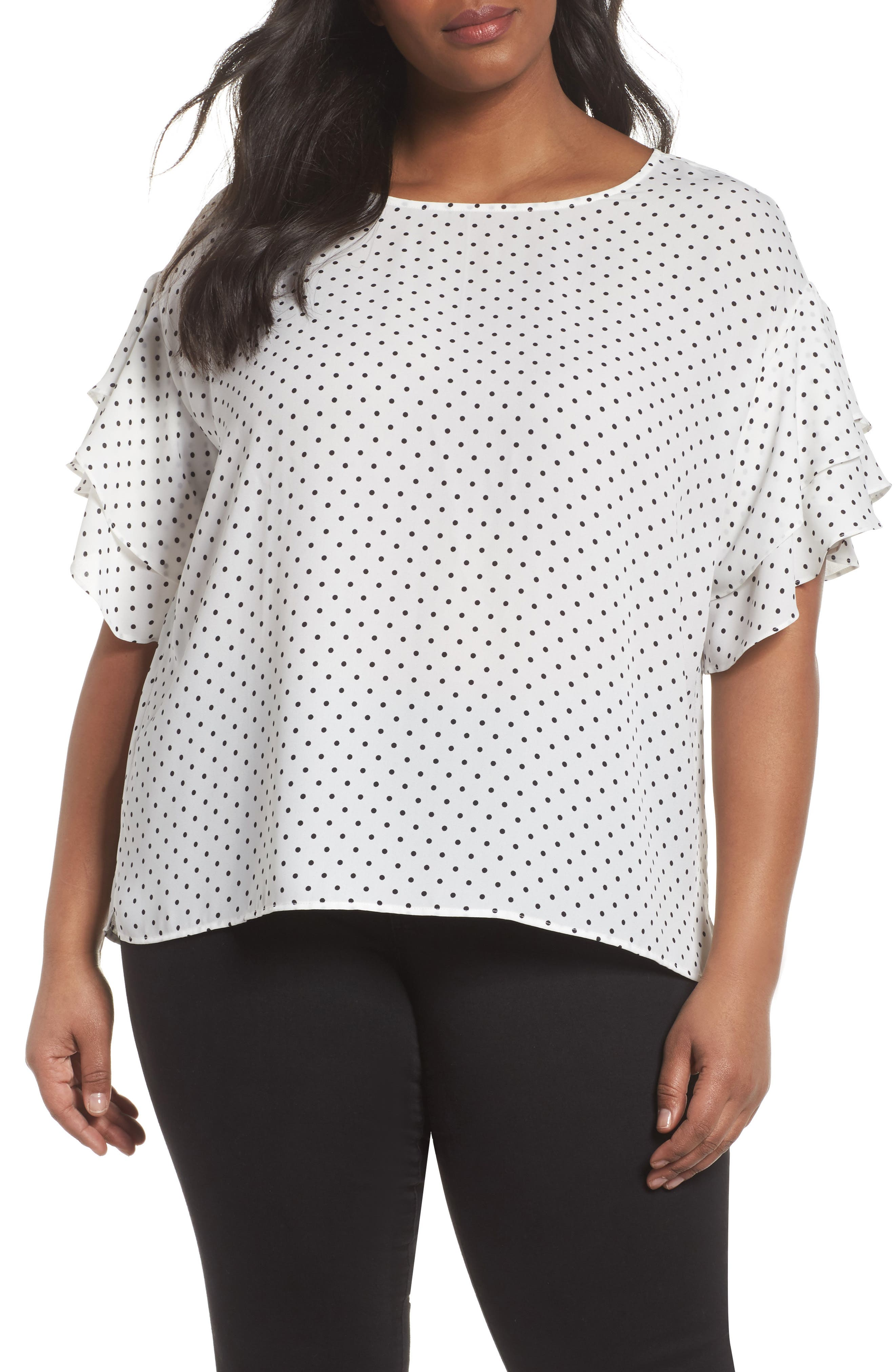 Poetic Dots Tiered Ruffle Sleeve Blouse,                             Main thumbnail 1, color,                             New Ivory