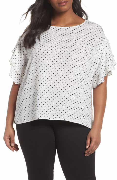 Vince Camuto Poetic Dots Tiered Ruffle Sleeve Blouse (Plus Size)