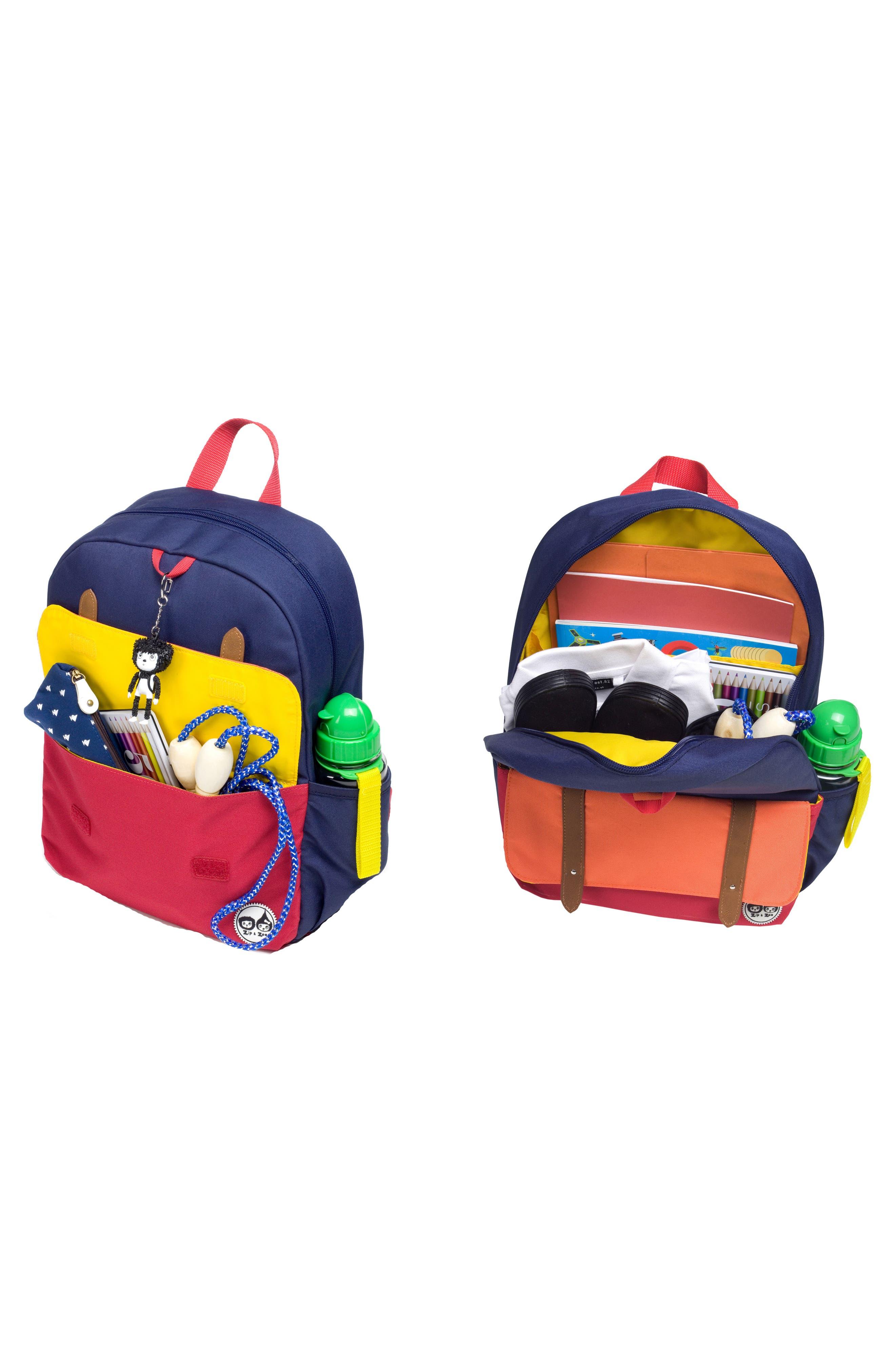 Zip & Zoe Colorblock Junior Backpack,                             Alternate thumbnail 3, color,                             Blue