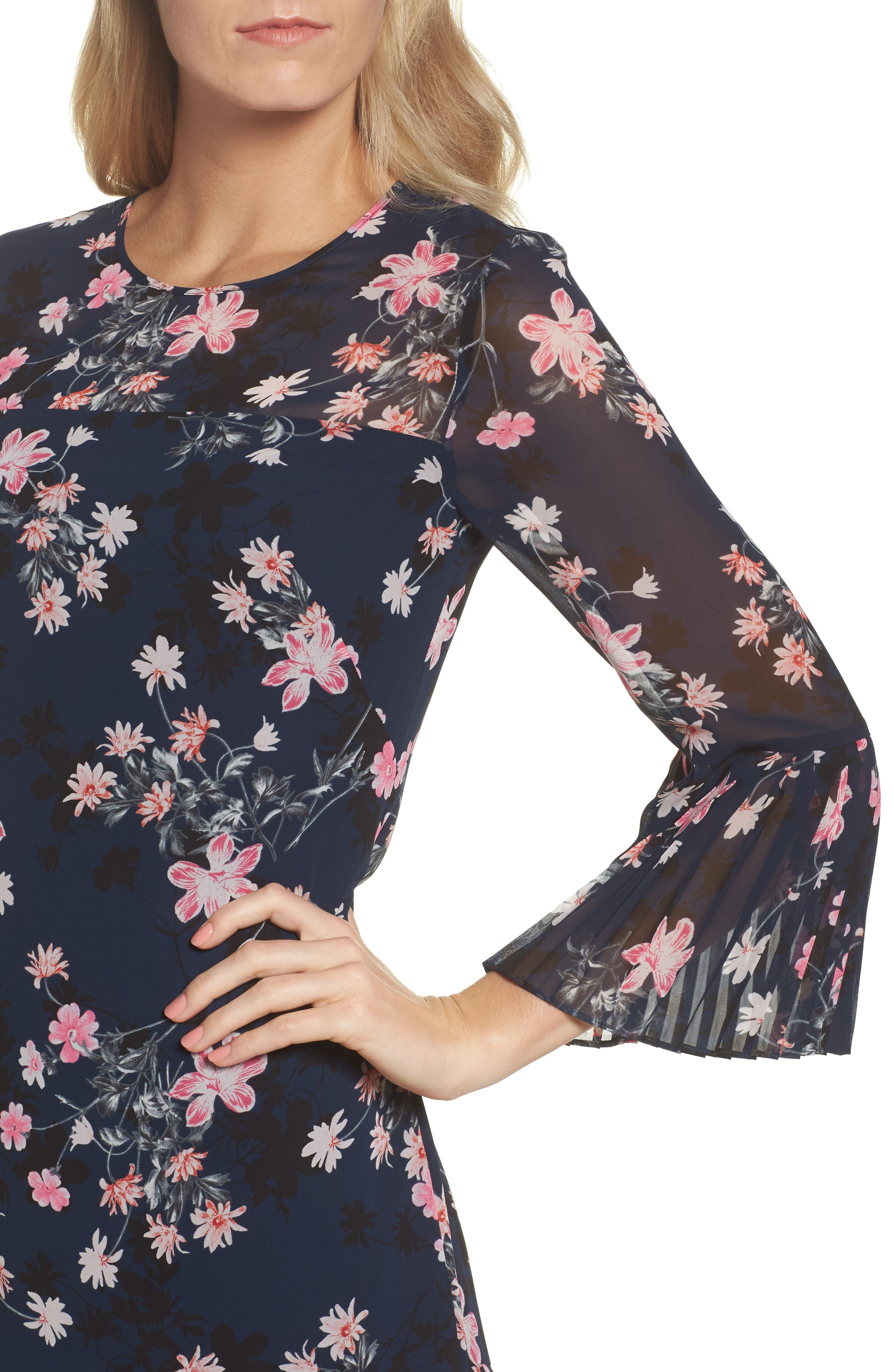 Floral Print Bell Sleeve Dress,                             Alternate thumbnail 4, color,                             Navy