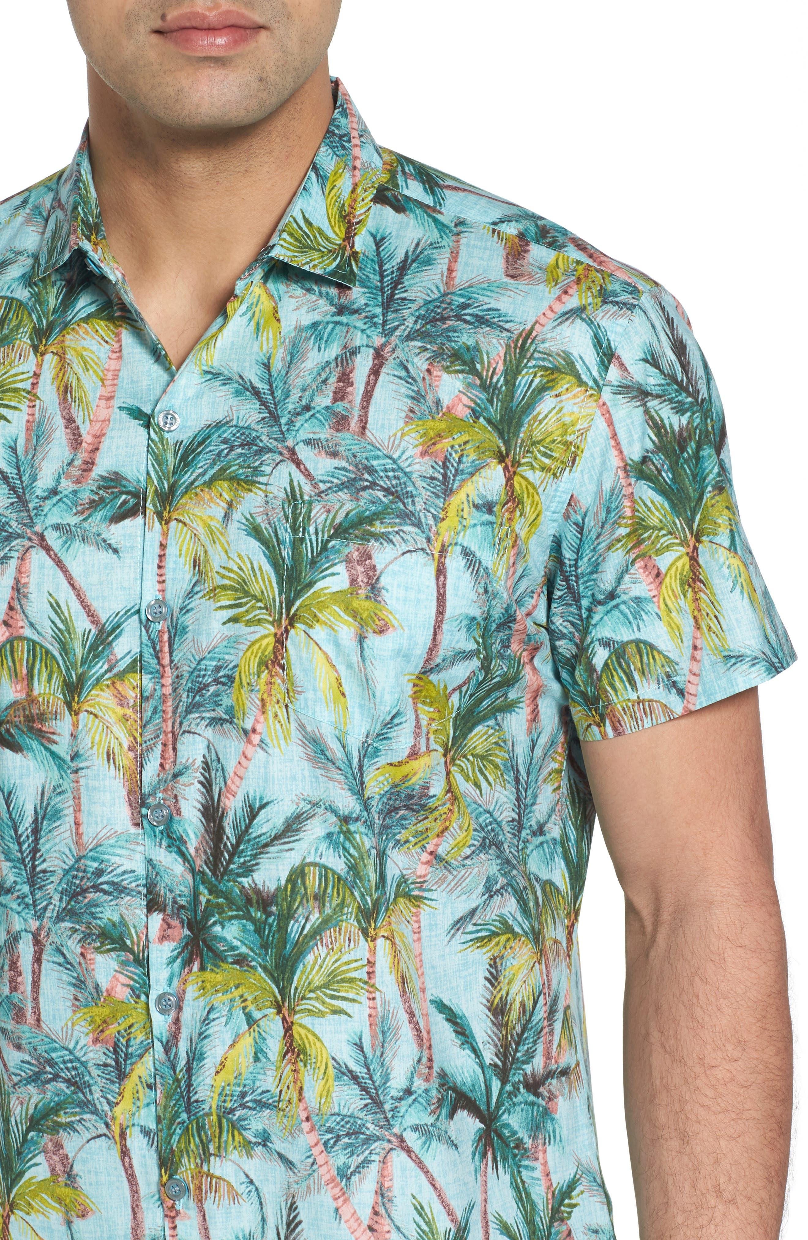 Coco Vida Trim Fit Print Cotton Lawn Sport Shirt,                             Alternate thumbnail 4, color,                             Surf