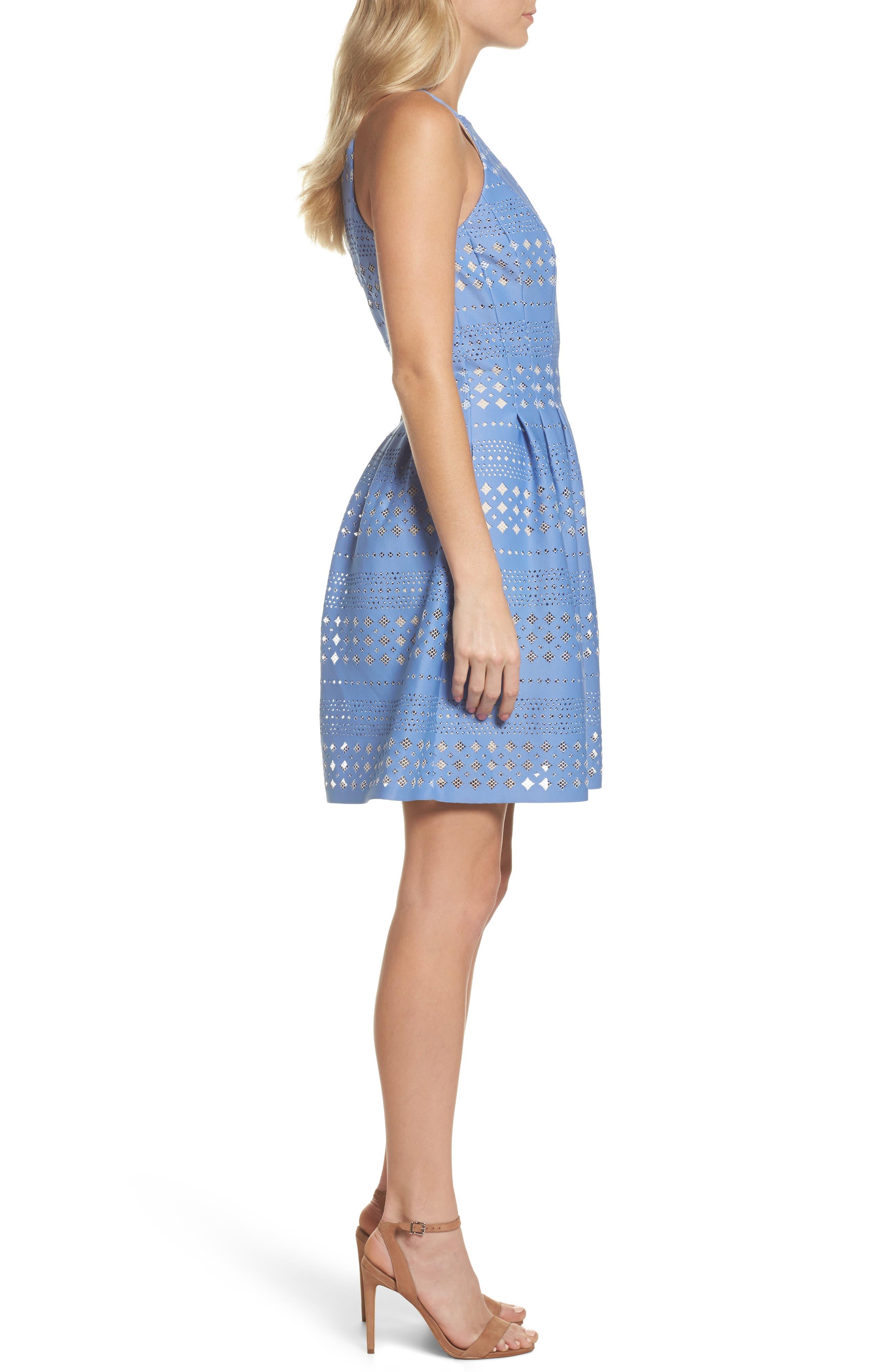 Alternate Image 3  - Eliza J Laser Cut Fit & Flare Halter Dress