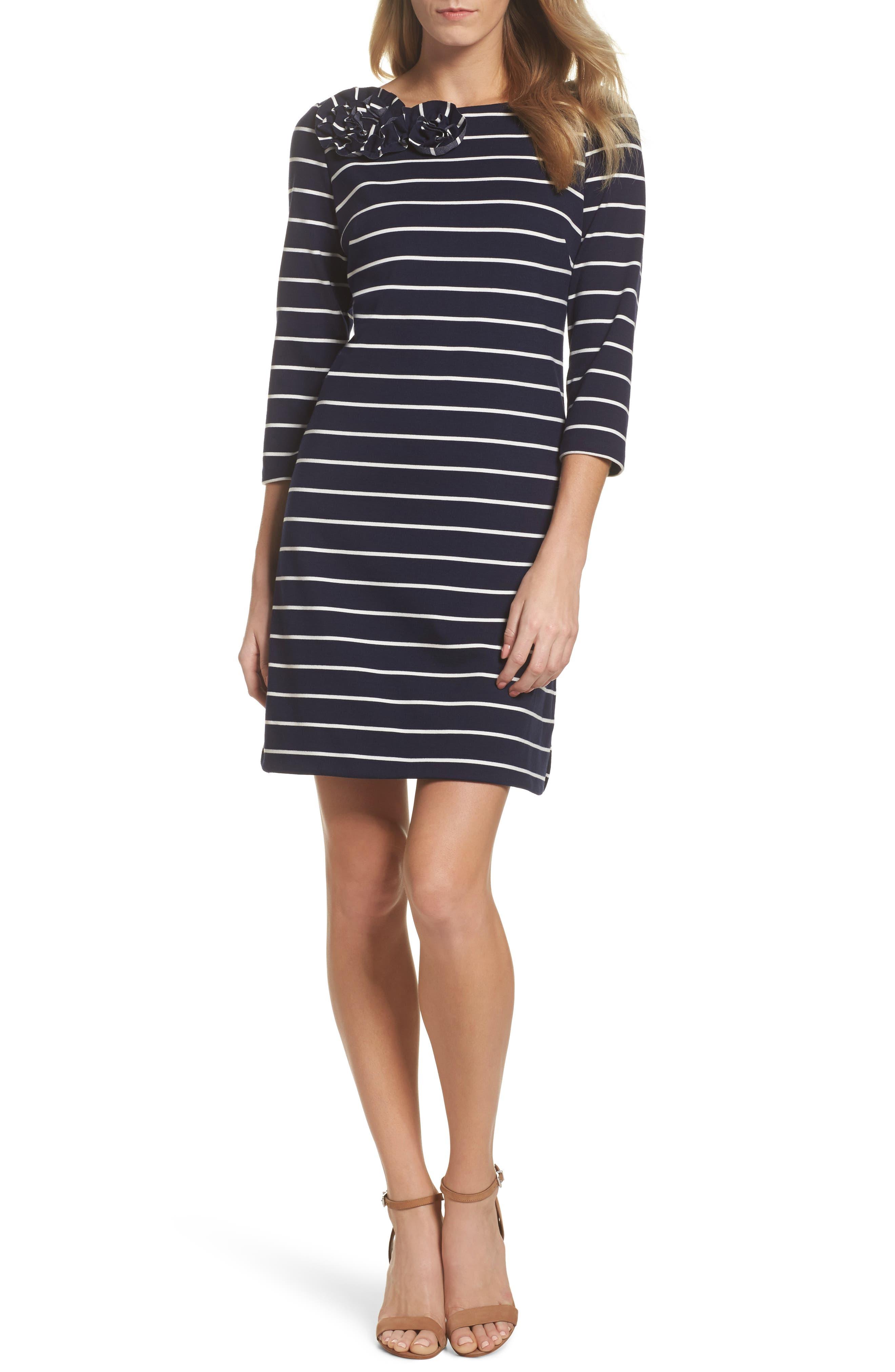 Stripe Flower Detail Shift Dress,                         Main,                         color, Navy