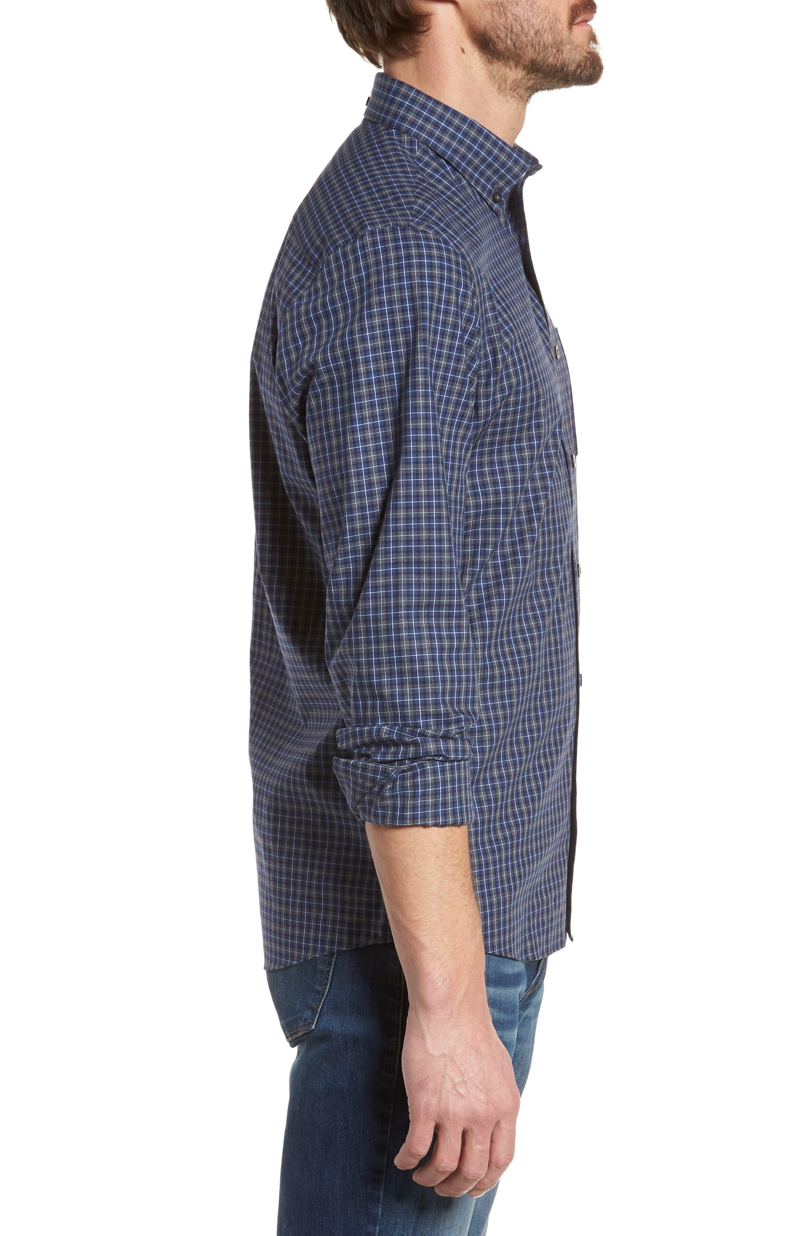 Trim Fit Check Sport Shirt,                             Alternate thumbnail 4, color,                             Navy Peacoat Grey Check