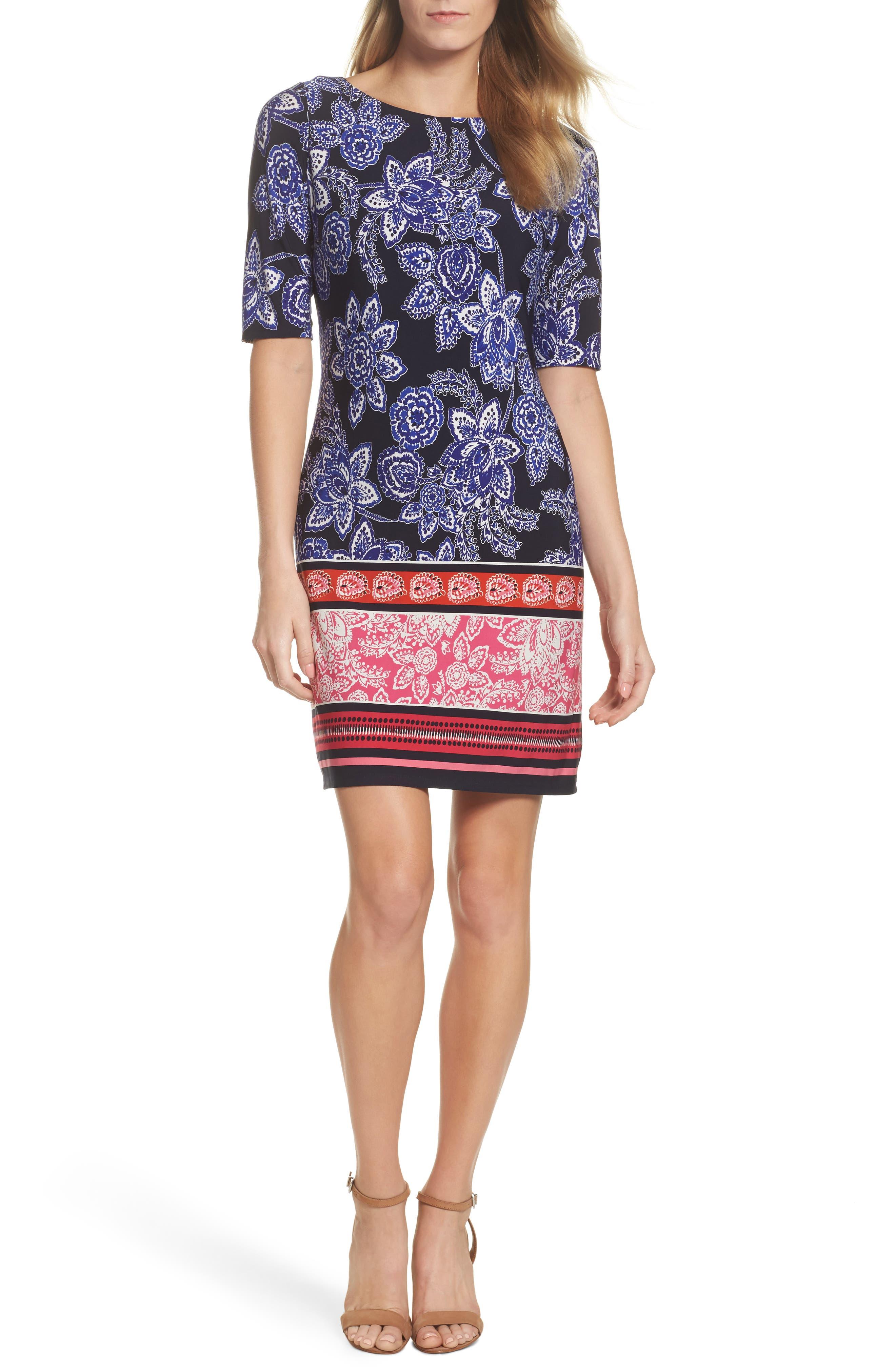 Print Shift Dress,                             Main thumbnail 1, color,                             Navy/ Pink/ Orange