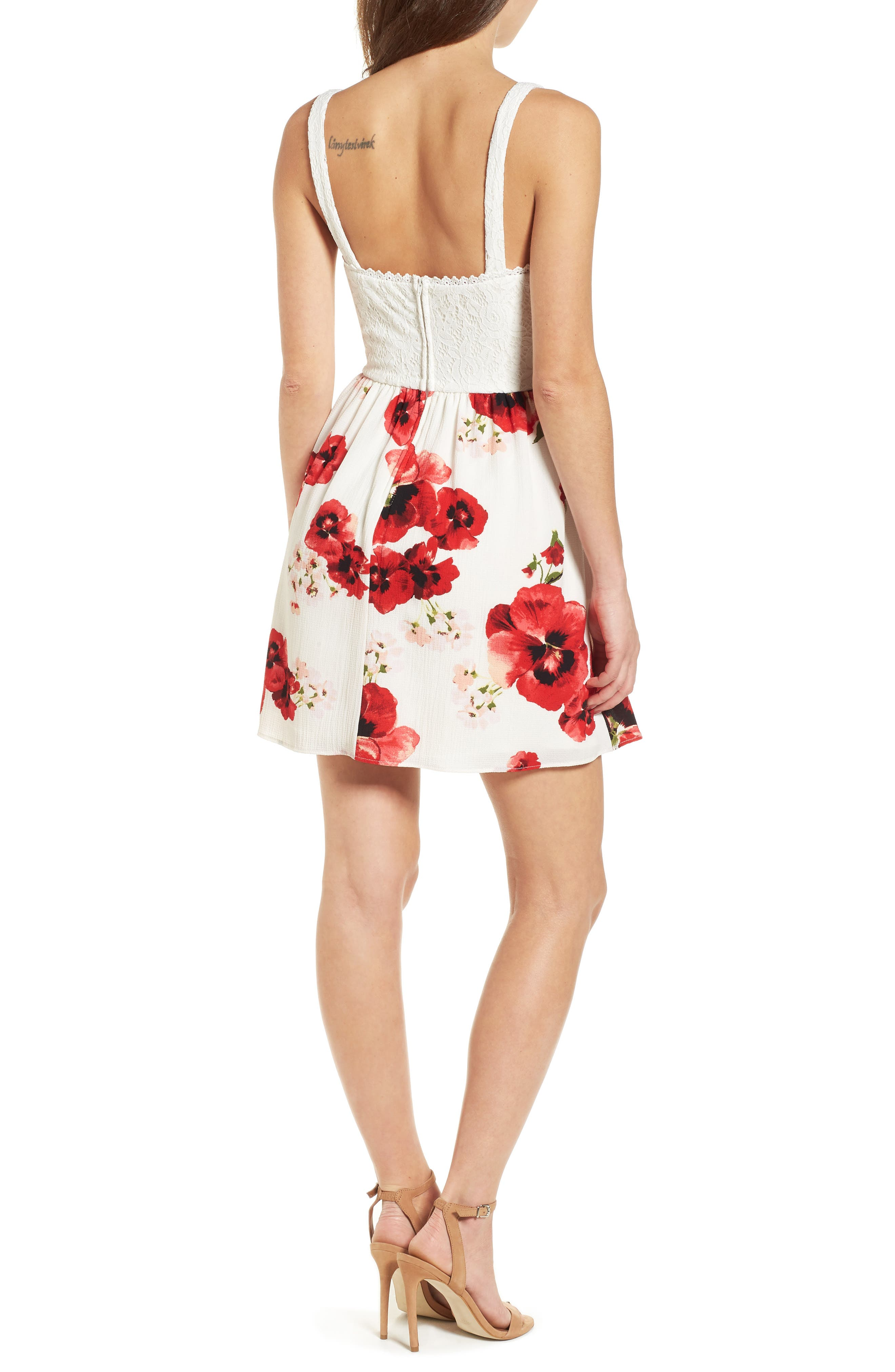 Lace Floral Fit and Flare Dress,                             Alternate thumbnail 2, color,                             Ivory/ Red