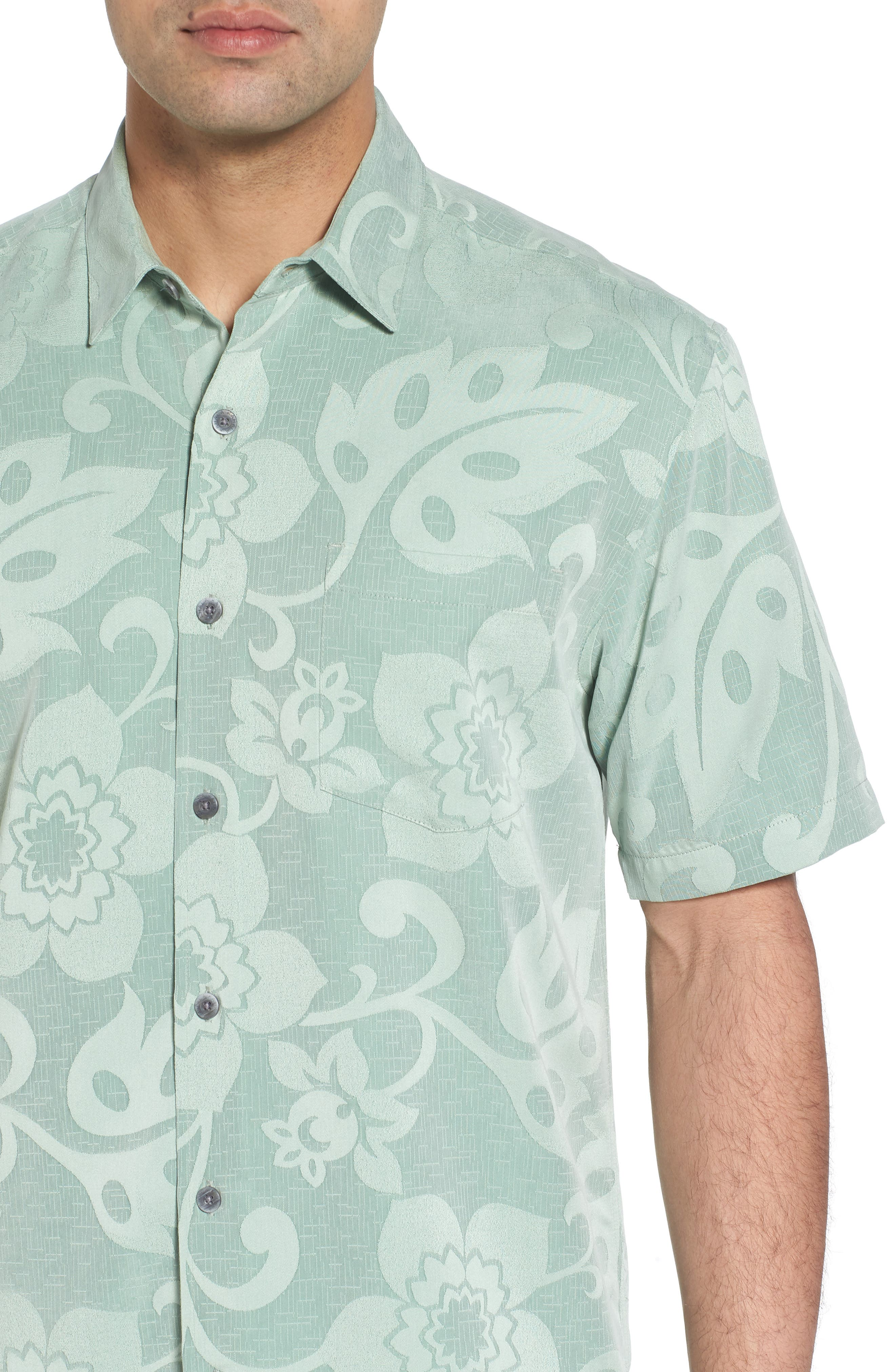 Kalawai Relaxed Fit Camp Shirt,                             Alternate thumbnail 4, color,                             Green
