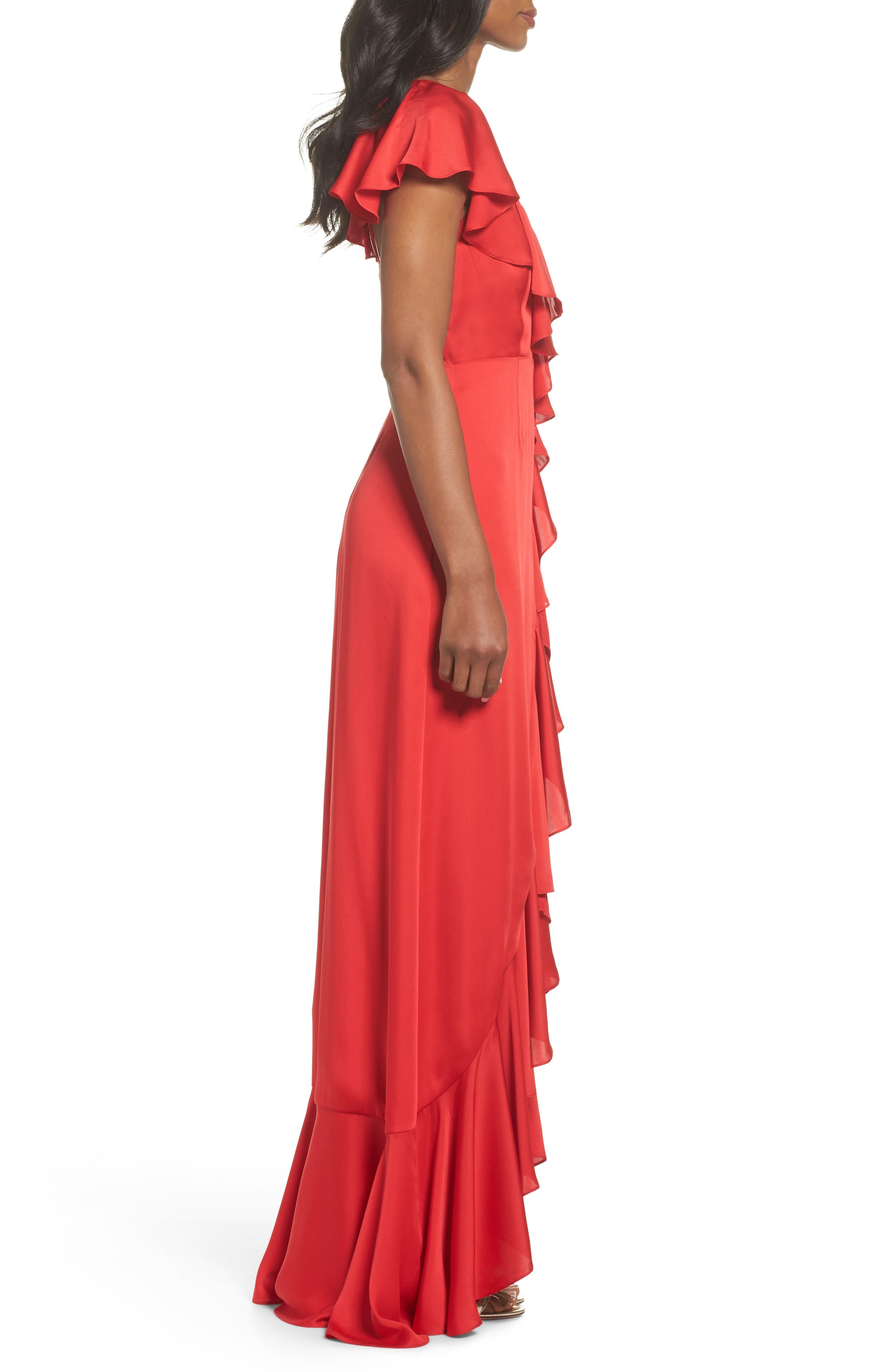 Ruffle Detail Gown,                             Alternate thumbnail 3, color,                             Poppy Red
