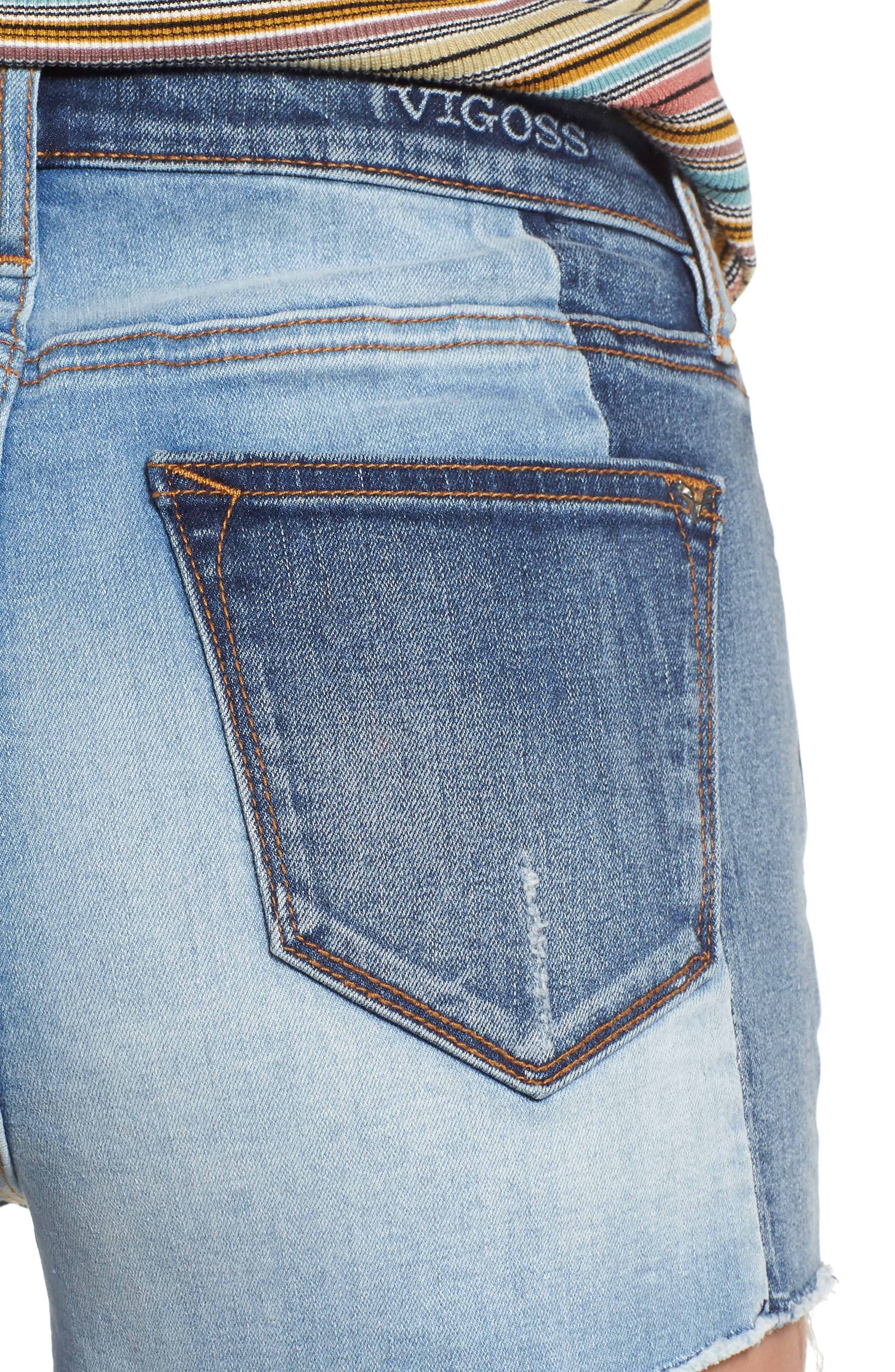 Alternate Image 4  - Vigoss Colorblock Denim Shorts