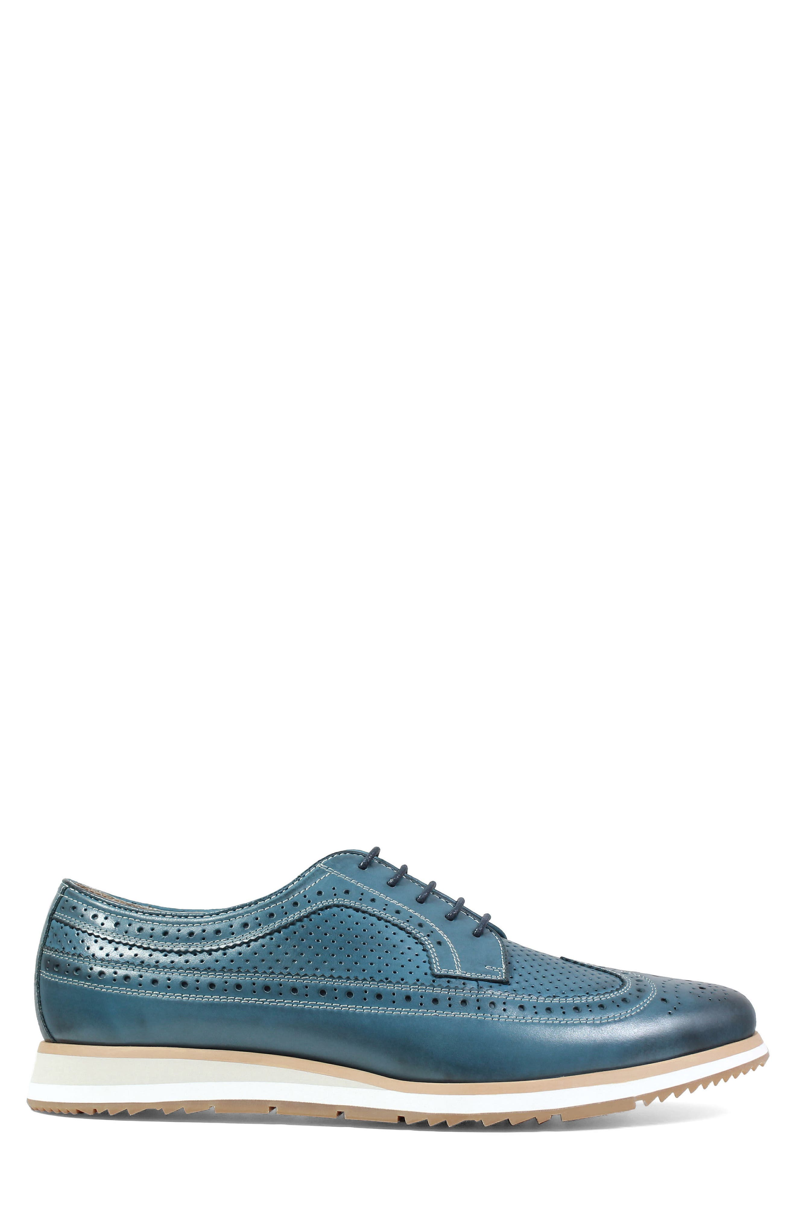 Limited Flux Perforated Wingtip Derby,                             Alternate thumbnail 3, color,                             Indigo Leather