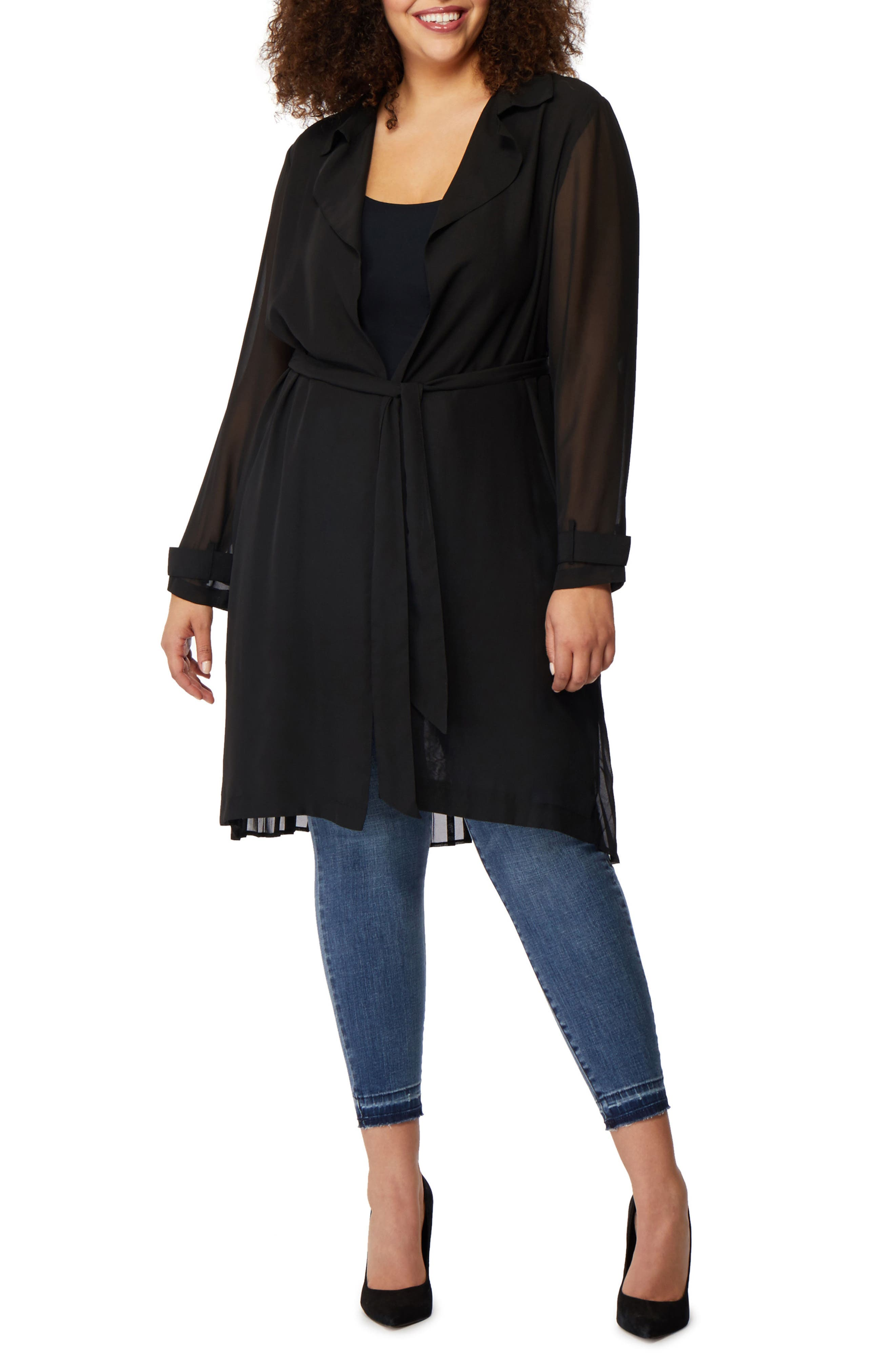 Pleat Back Trench Jacket,                         Main,                         color, Black