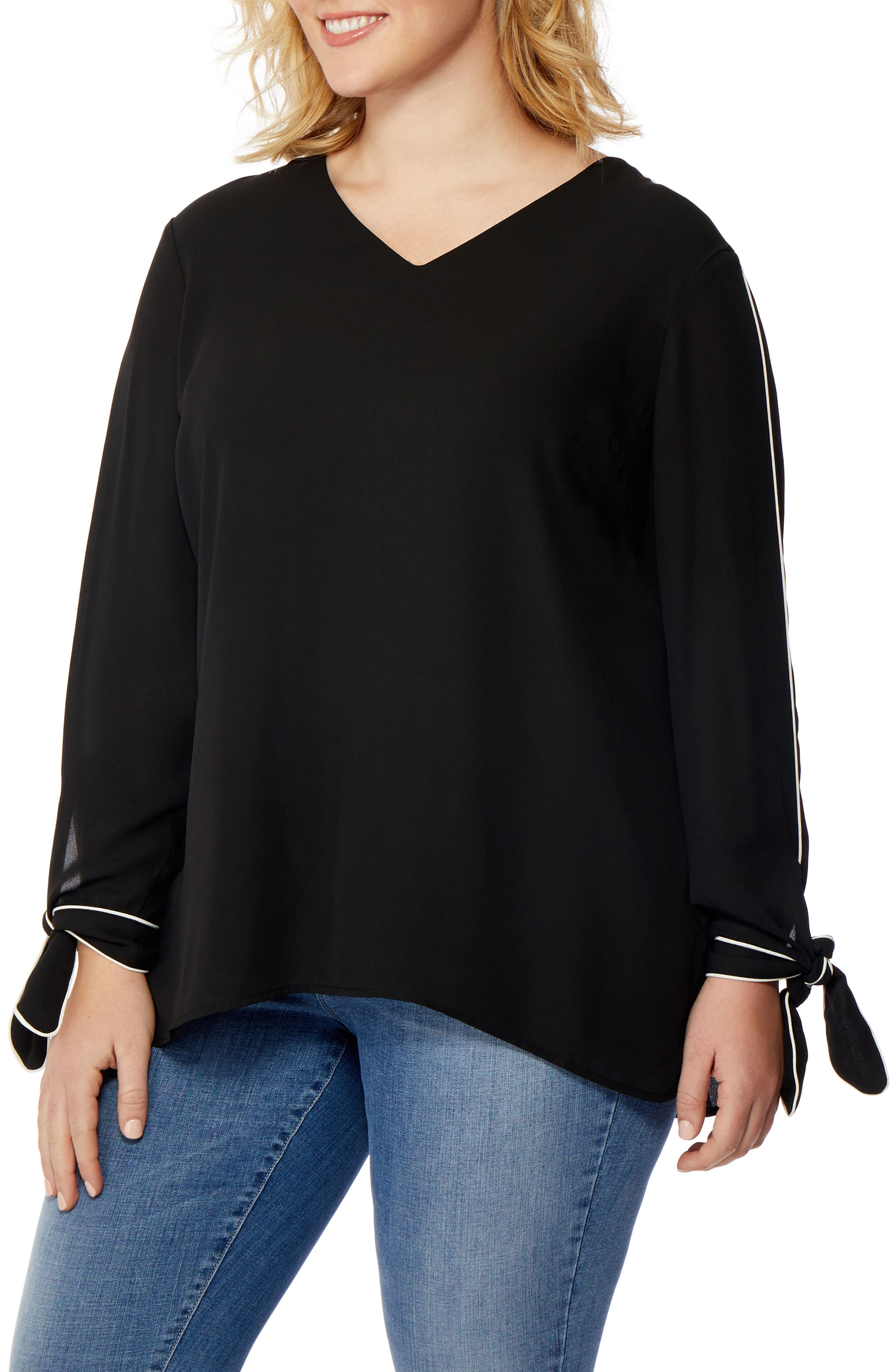 Rebel Wilson Tie Cuff Piped Blouse,                             Main thumbnail 1, color,                             Black