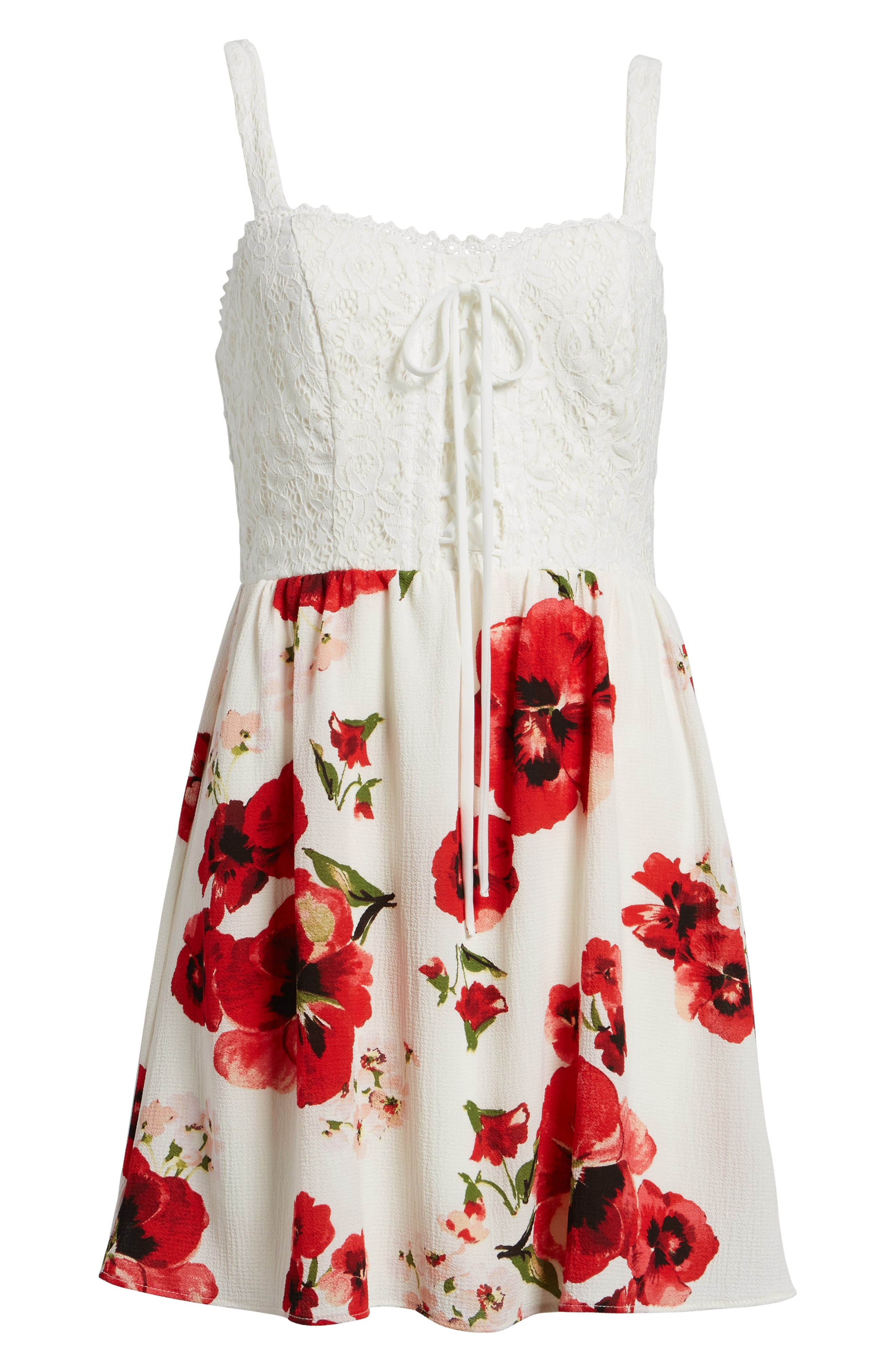 Lace Floral Fit and Flare Dress,                             Alternate thumbnail 6, color,                             Ivory/ Red