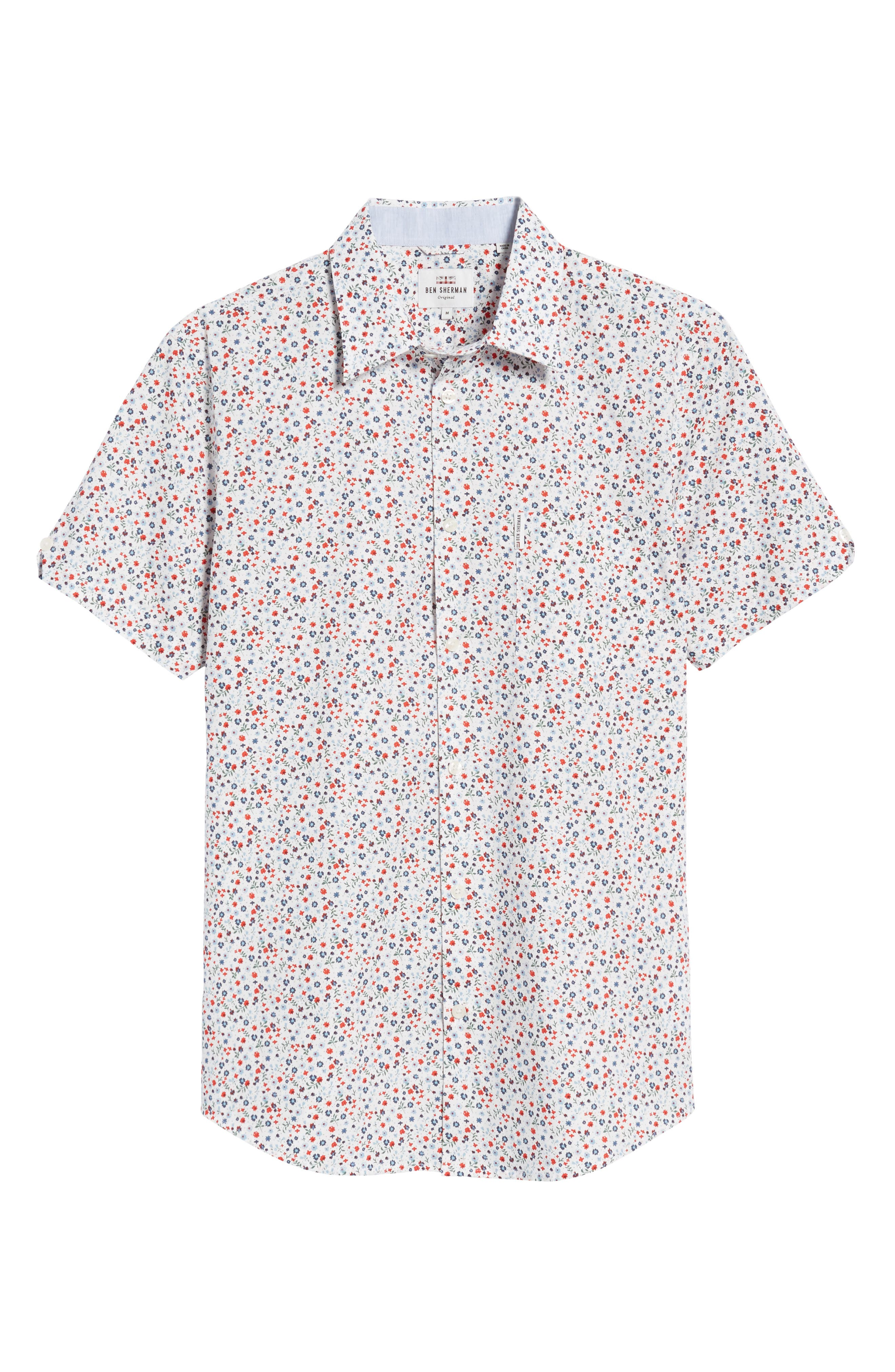 Micro Floral Woven Shirt,                             Alternate thumbnail 6, color,                             White