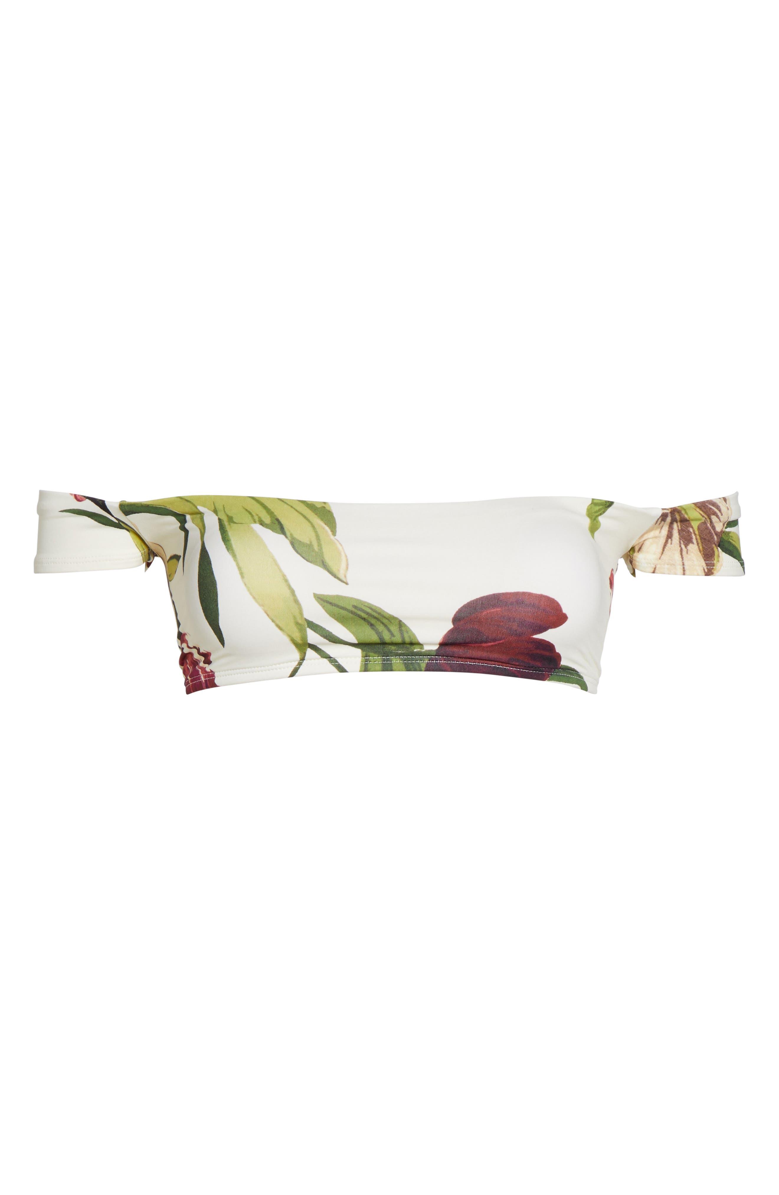 Hawaiian Floral Off the Shoulder Bikini Top,                             Alternate thumbnail 4, color,                             Multi