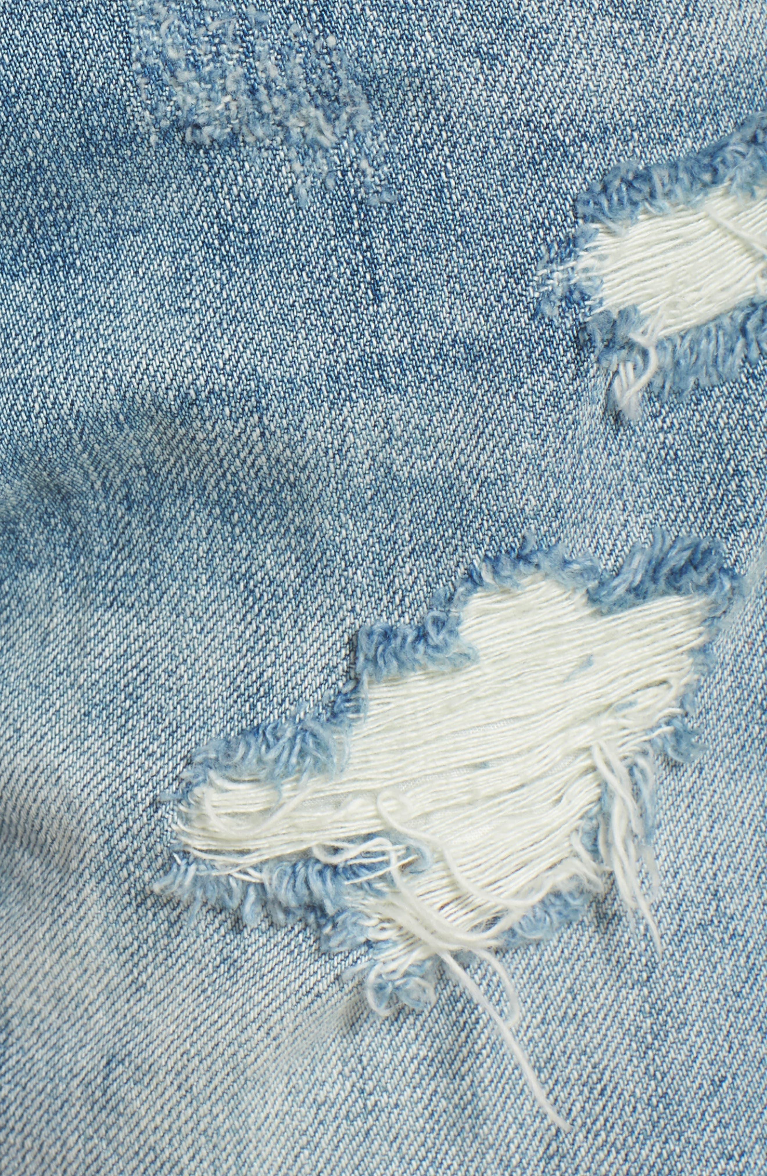 Panic Prevention Ripped Cutoff Denim Shorts,                             Alternate thumbnail 5, color,                             Blue