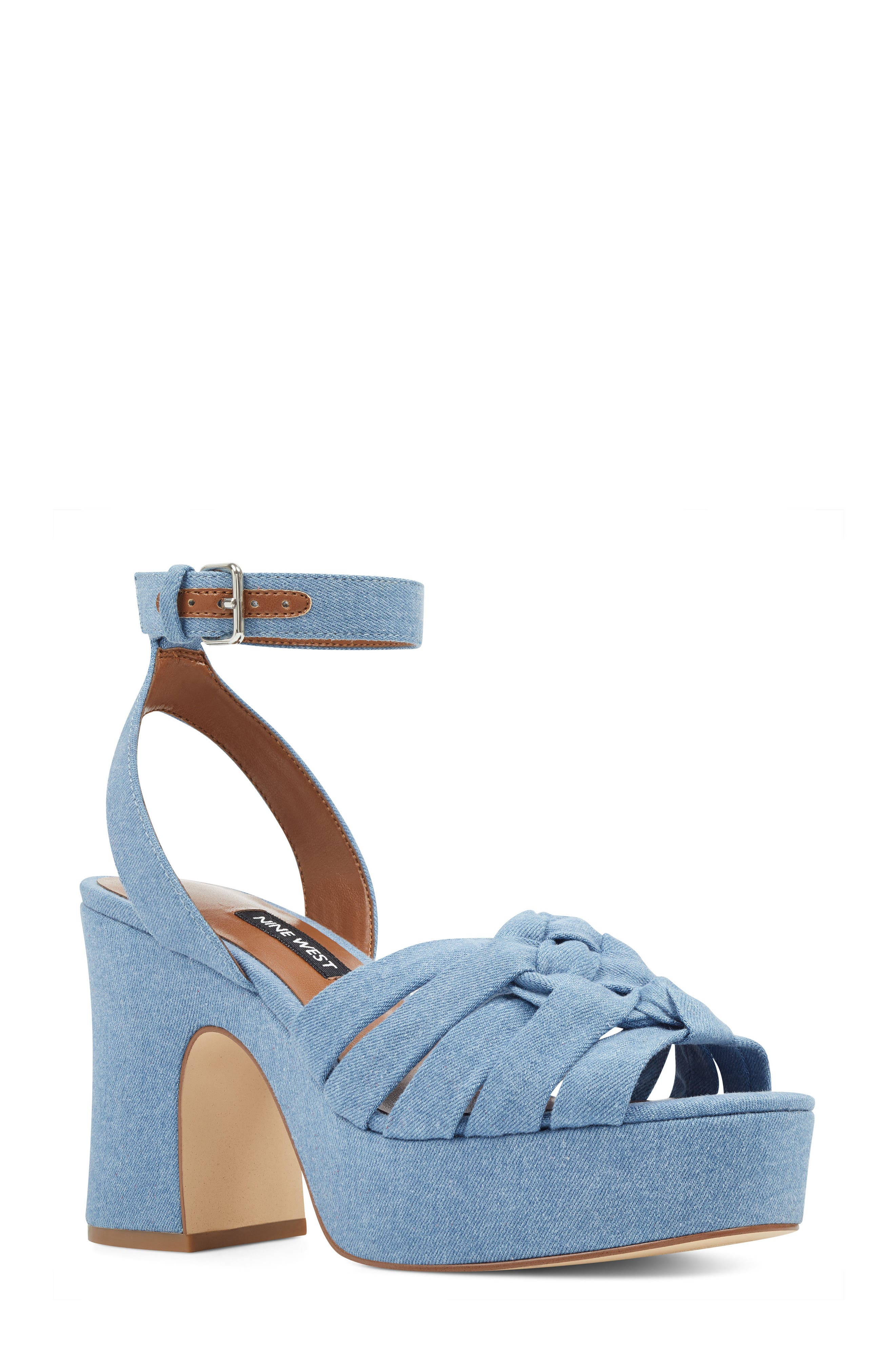 Fetuchini Platform Sandal,                             Main thumbnail 1, color,                             Light Blue Denim