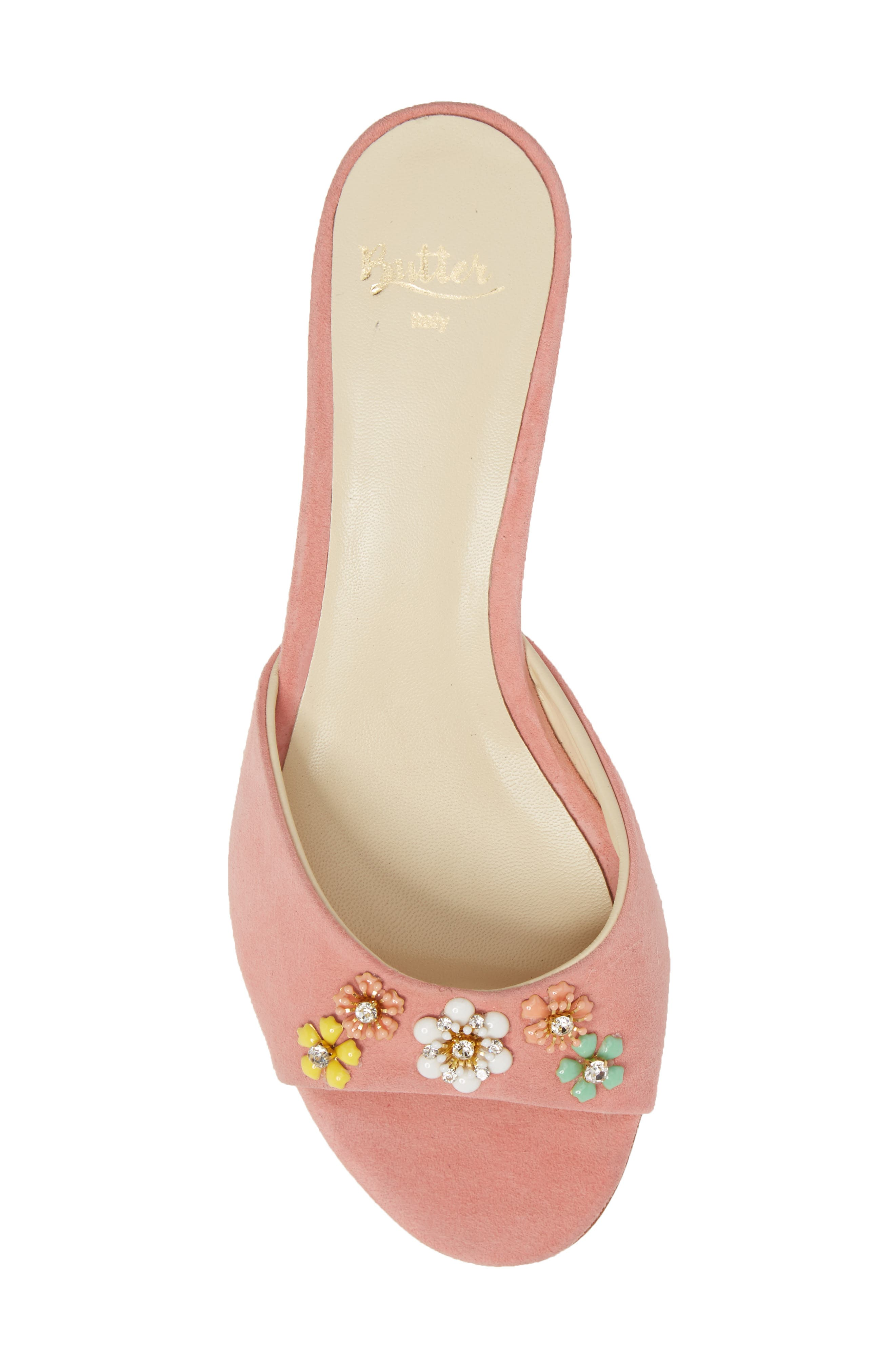 Butter Betteye Embellished Mule,                             Alternate thumbnail 5, color,                             Seashell Suede