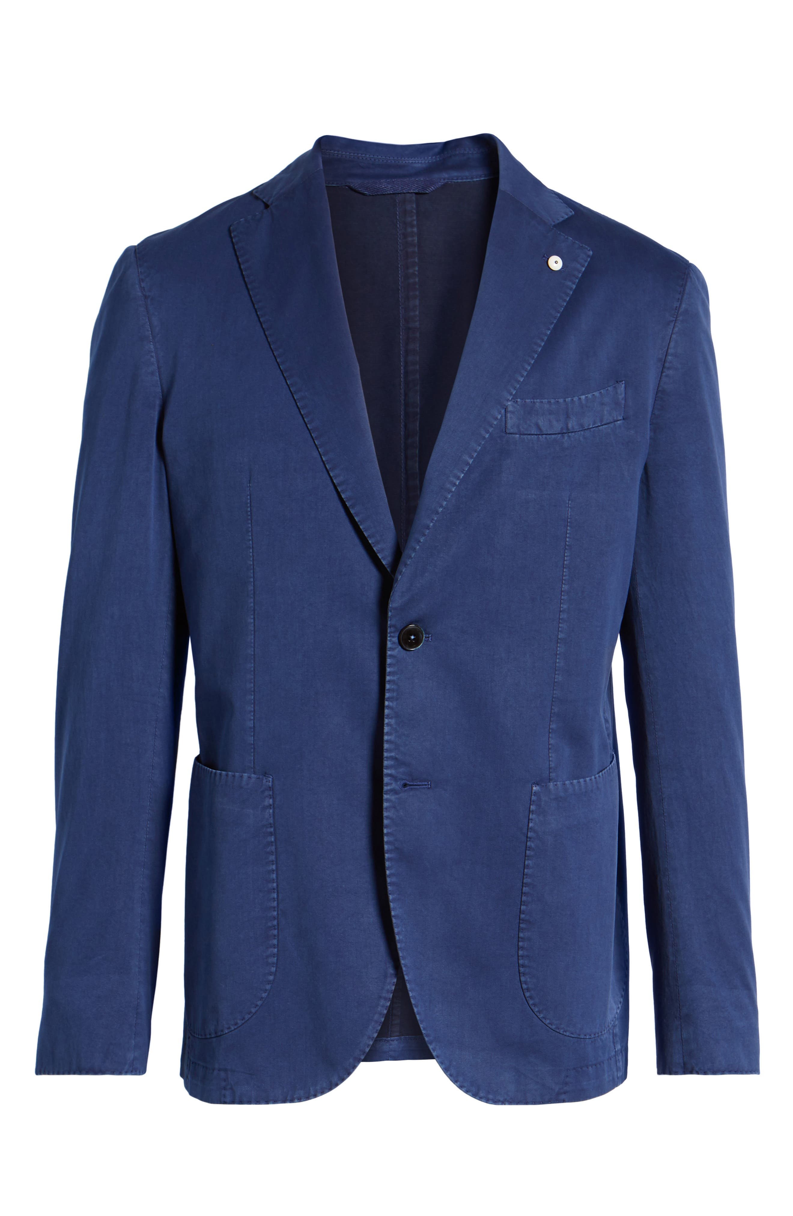 Classic Fit Cotton & Silk Blazer,                             Alternate thumbnail 6, color,                             Navy