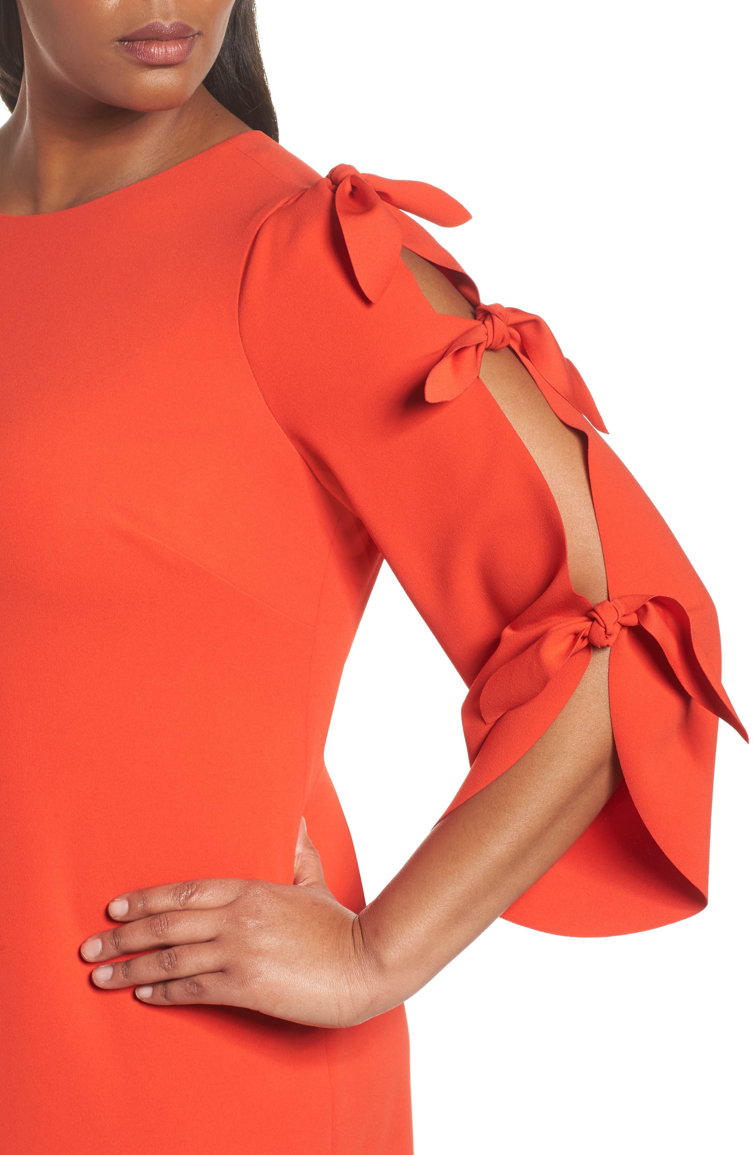 Tie Bell Sleeve Ponte Shift Dress,                             Alternate thumbnail 4, color,                             Geranium