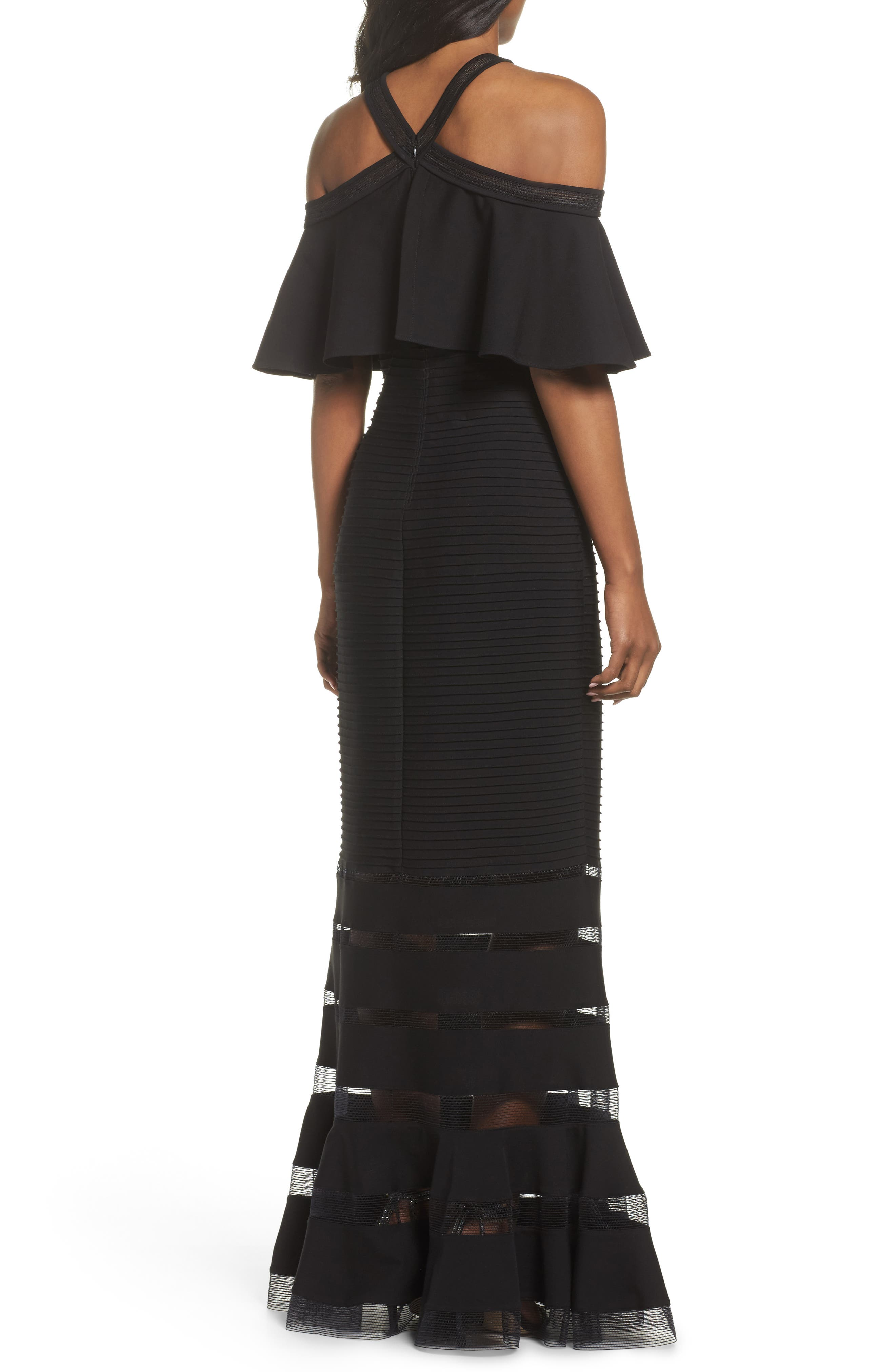 Jersey Cold-Shoulder Gown,                             Alternate thumbnail 2, color,                             Black