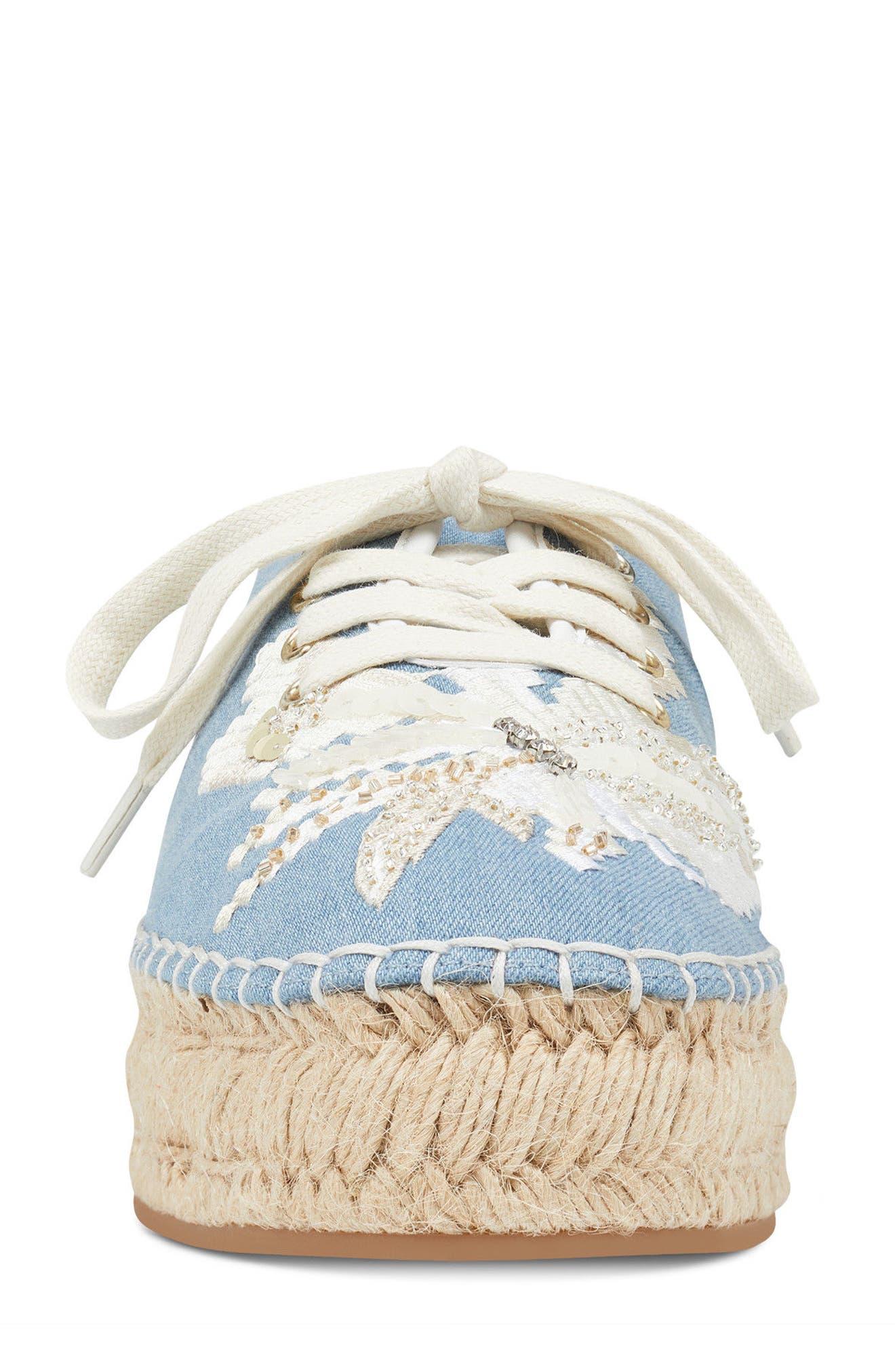 Guinup Embellished Espadrille Sneaker,                             Alternate thumbnail 4, color,                             Light Blue/ White Denim