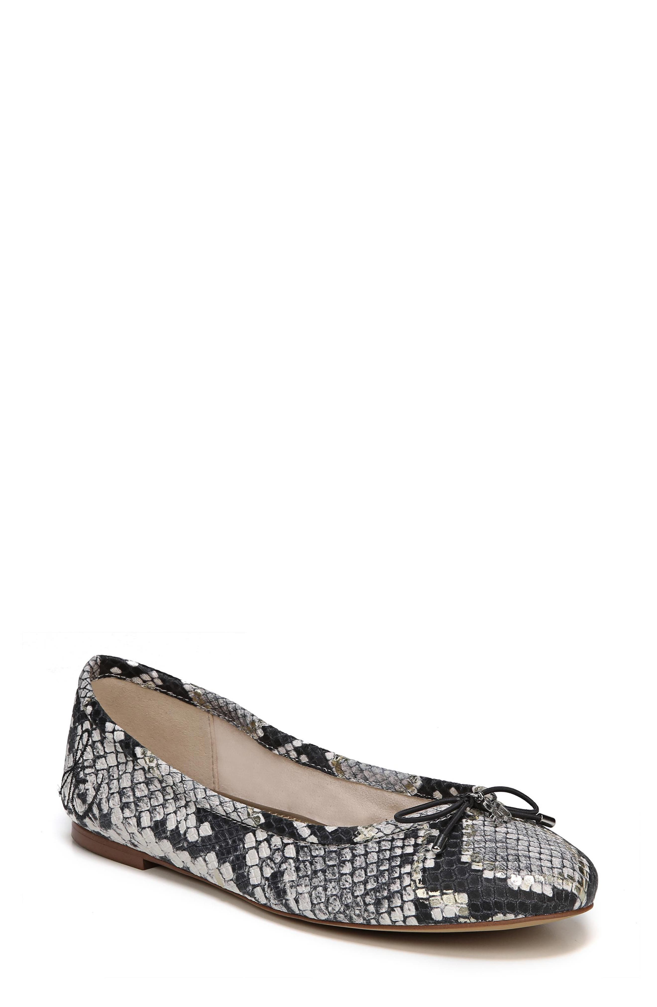 Felicia Flat,                         Main,                         color, Grey Snake Print Leather