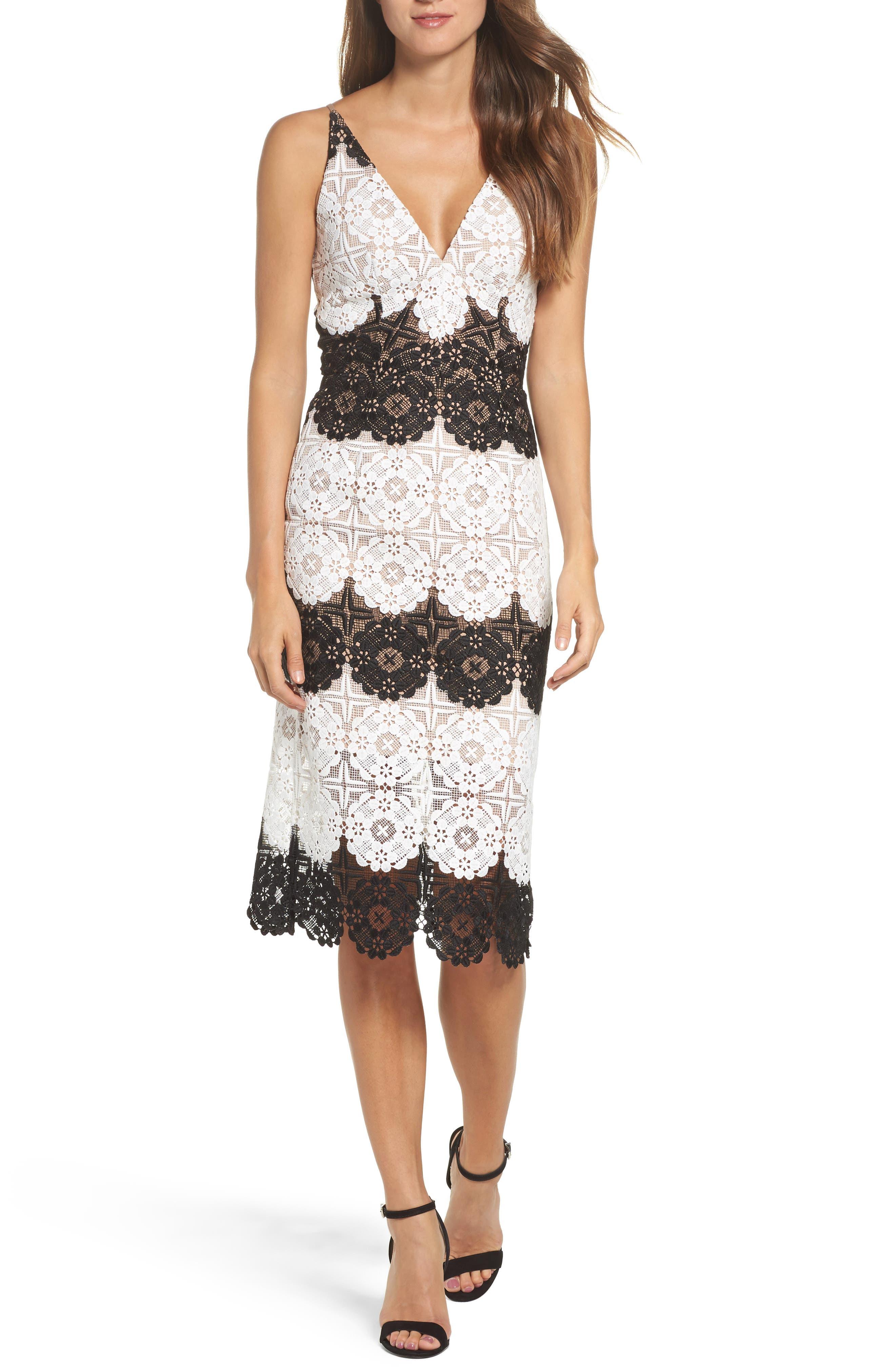 Main Image - Dress the Population Vera Crochet Stripe Sheath Dress