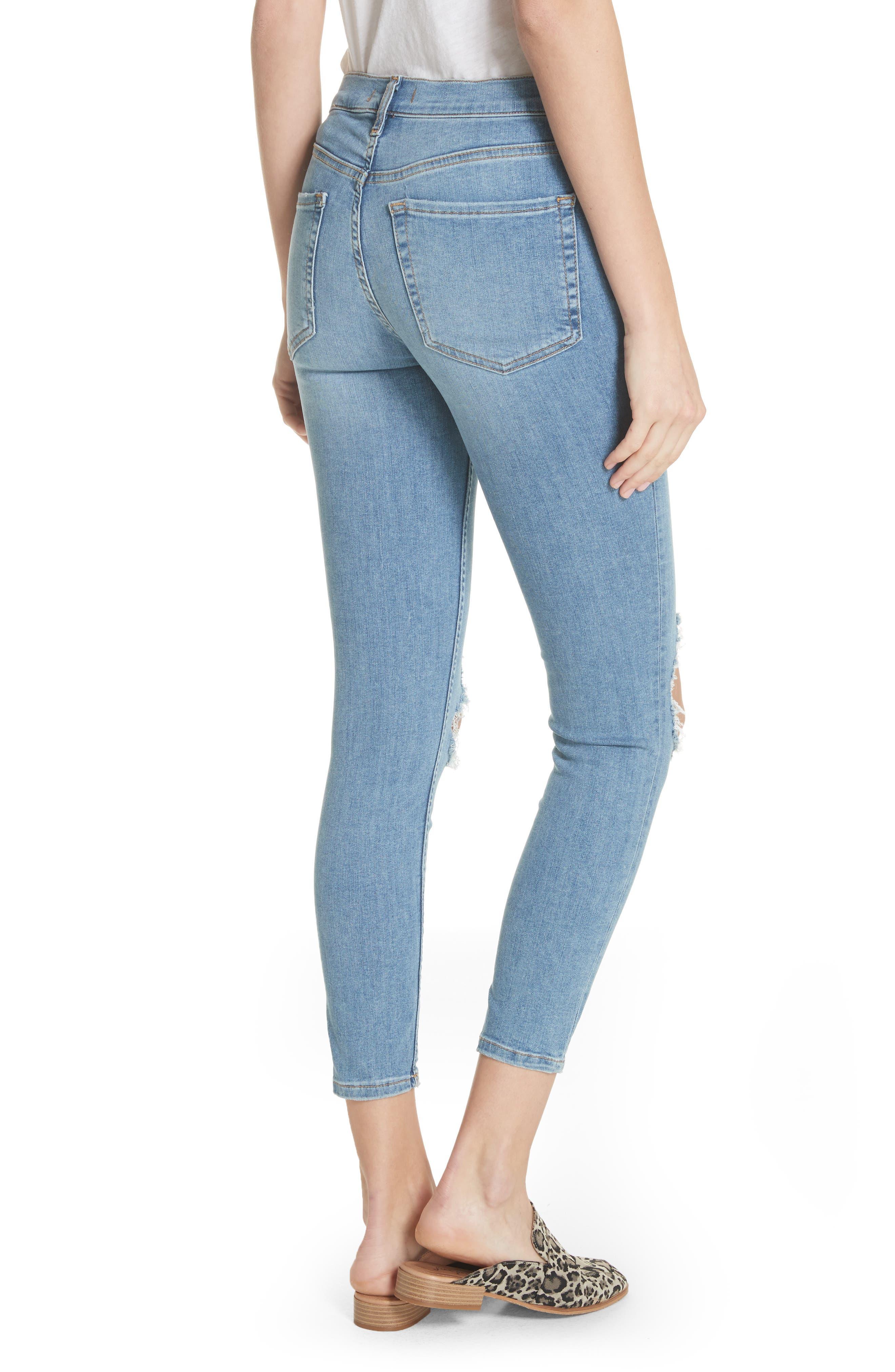 Alternate Image 3  - Free People High Waist Ankle Skinny Jeans