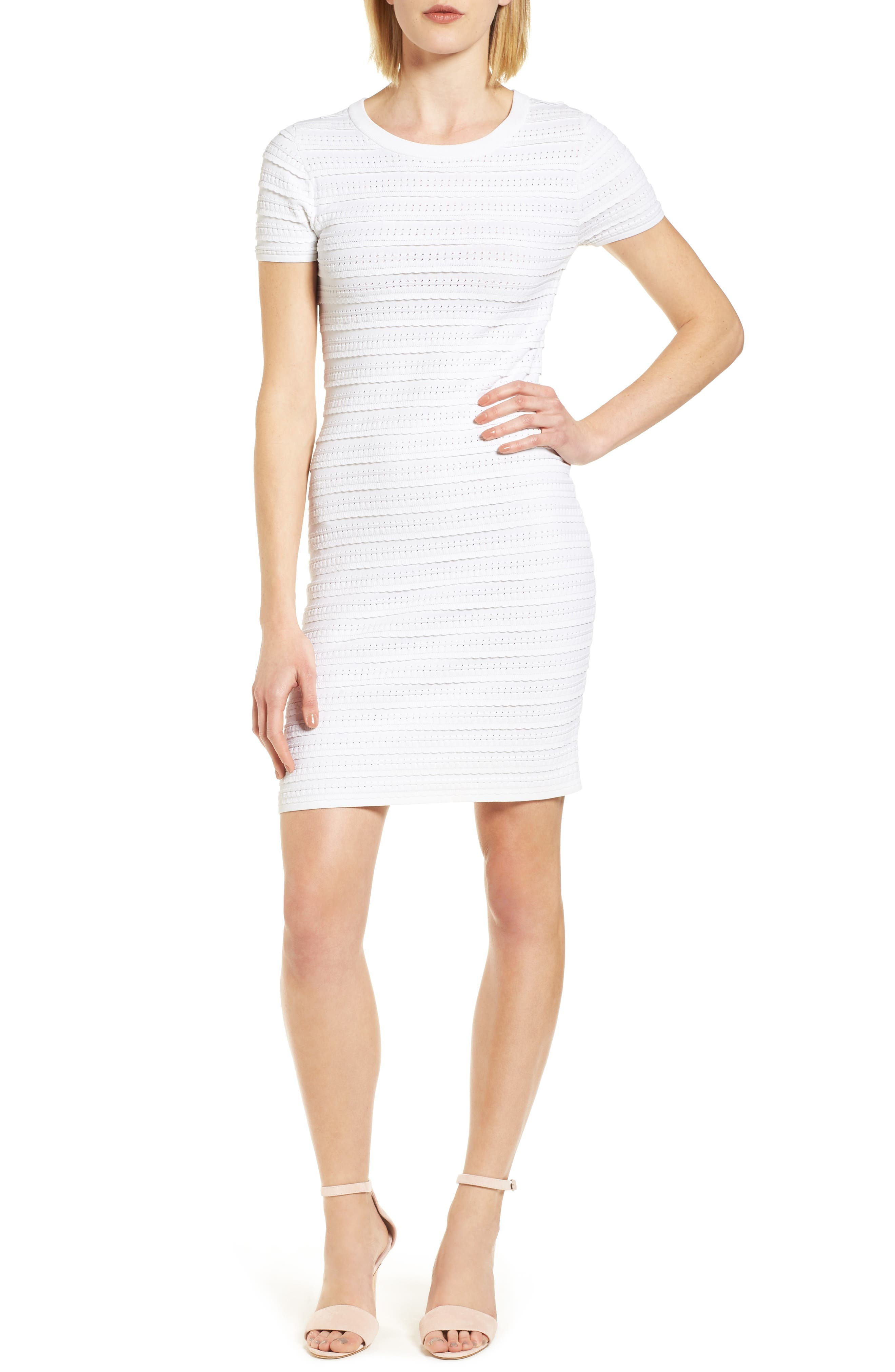 Tiered Sheath Dress,                         Main,                         color, White