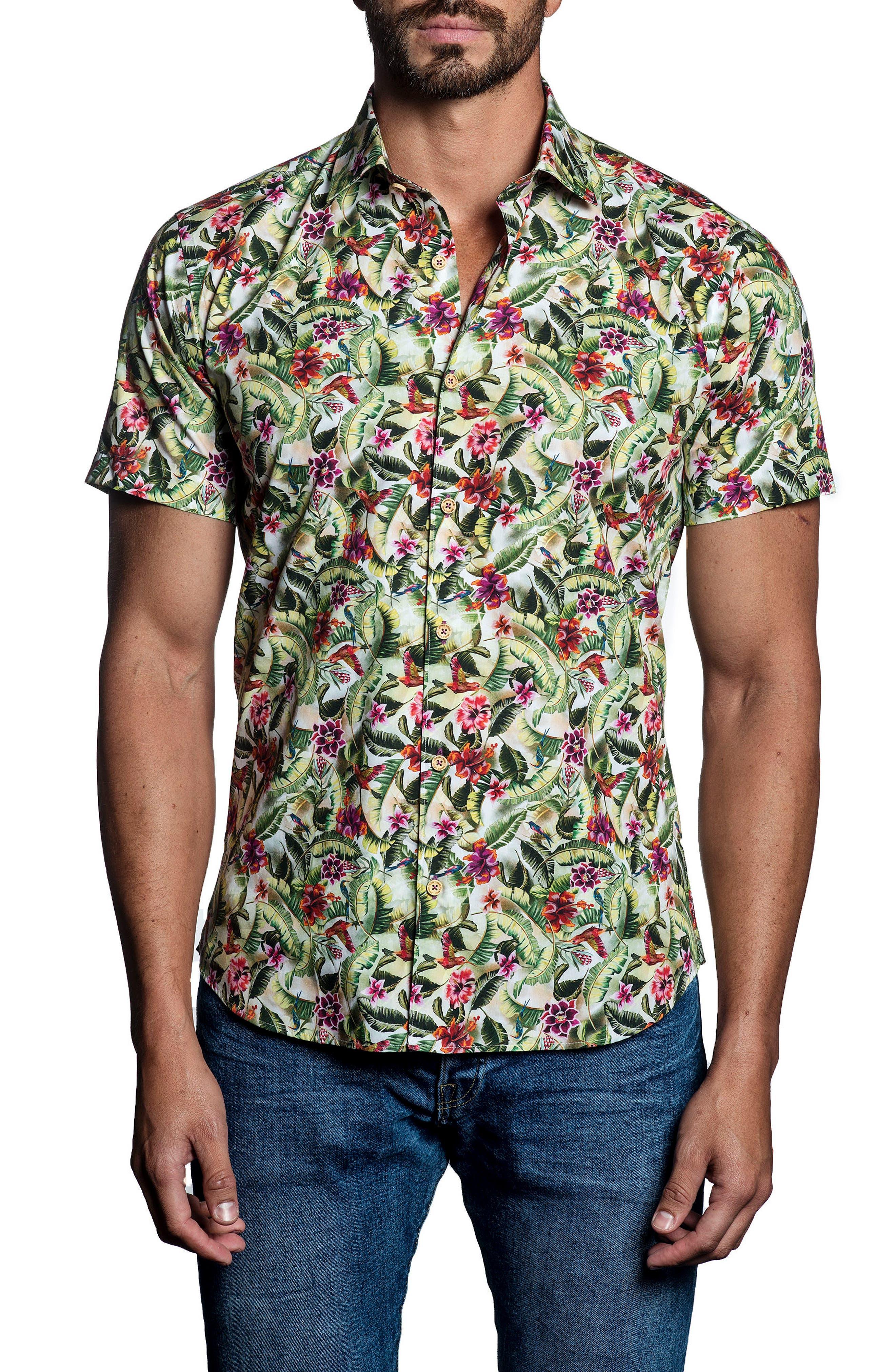 Tropical Print Sport Shirt,                         Main,                         color, White/ Green
