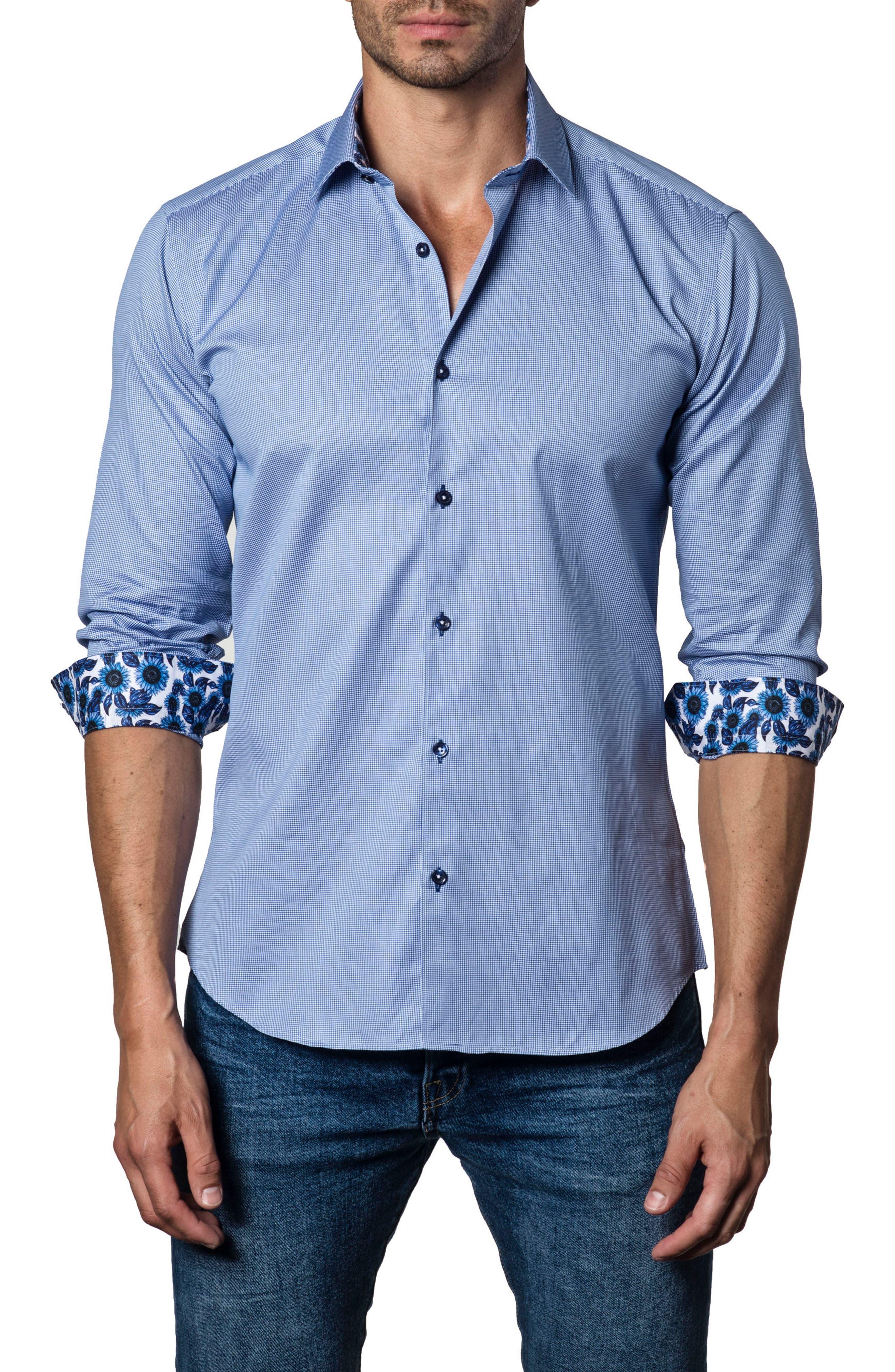 Trim Fit Woven Sport Shirt,                         Main,                         color, Blue