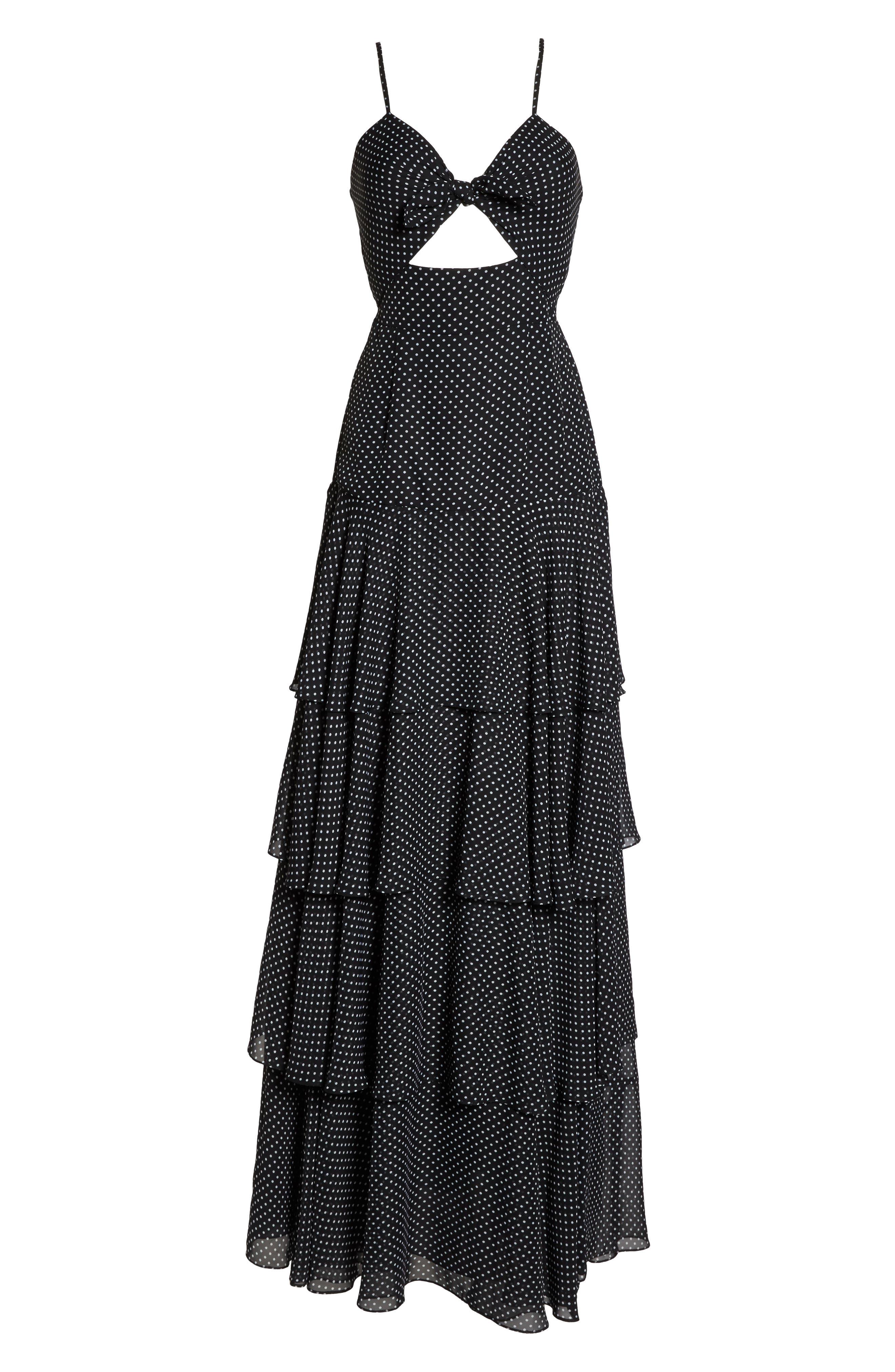 Polka Dot Tiered Gown,                             Alternate thumbnail 6, color,                             Black/ White