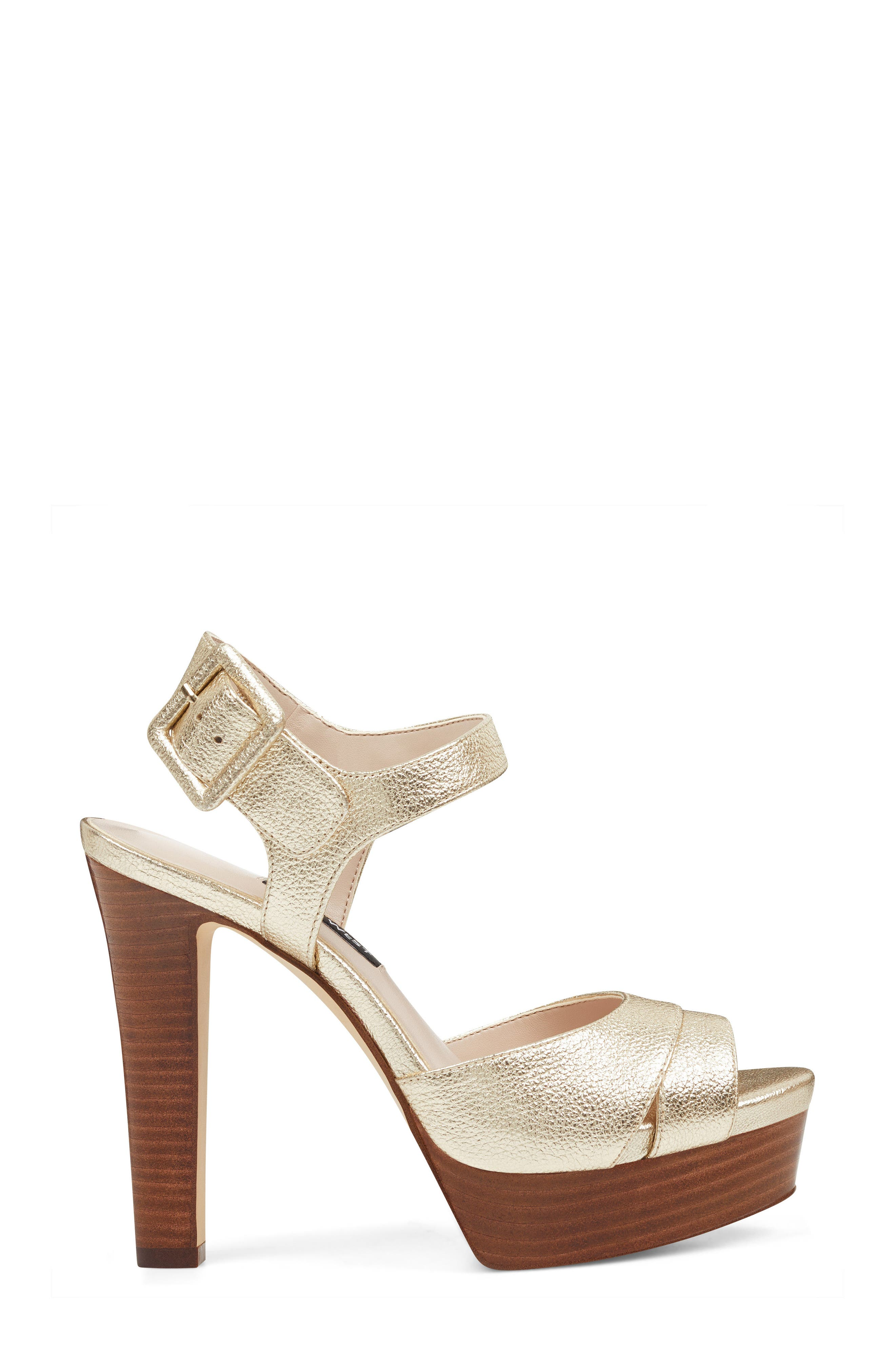 Ibyn Platform Sandal,                             Alternate thumbnail 3, color,                             Light Gold Leather