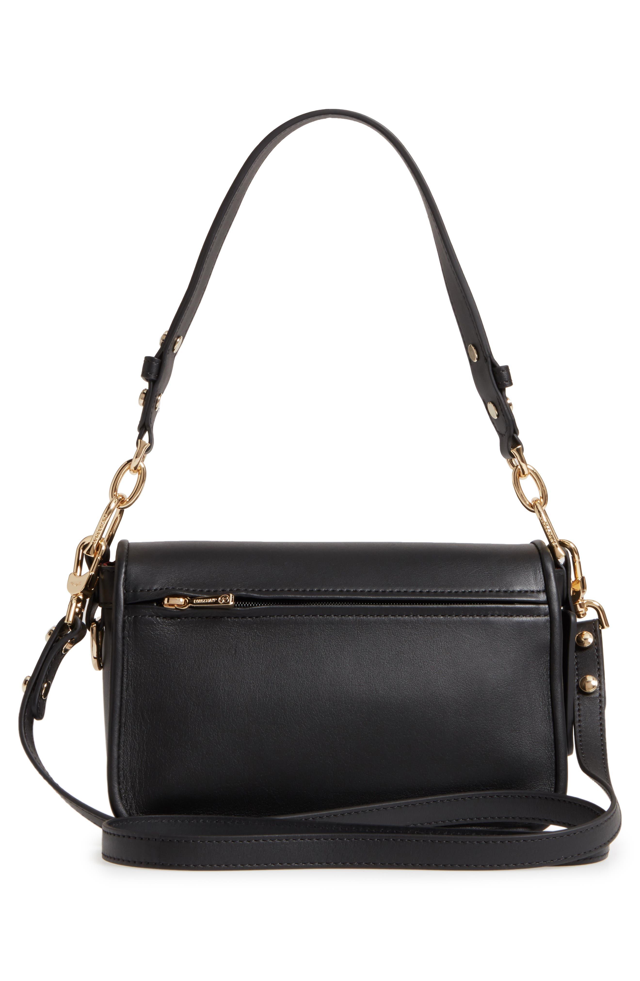 Small Mademoiselle Calfskin Leather Crossbody Bag,                             Alternate thumbnail 3, color,                             Black