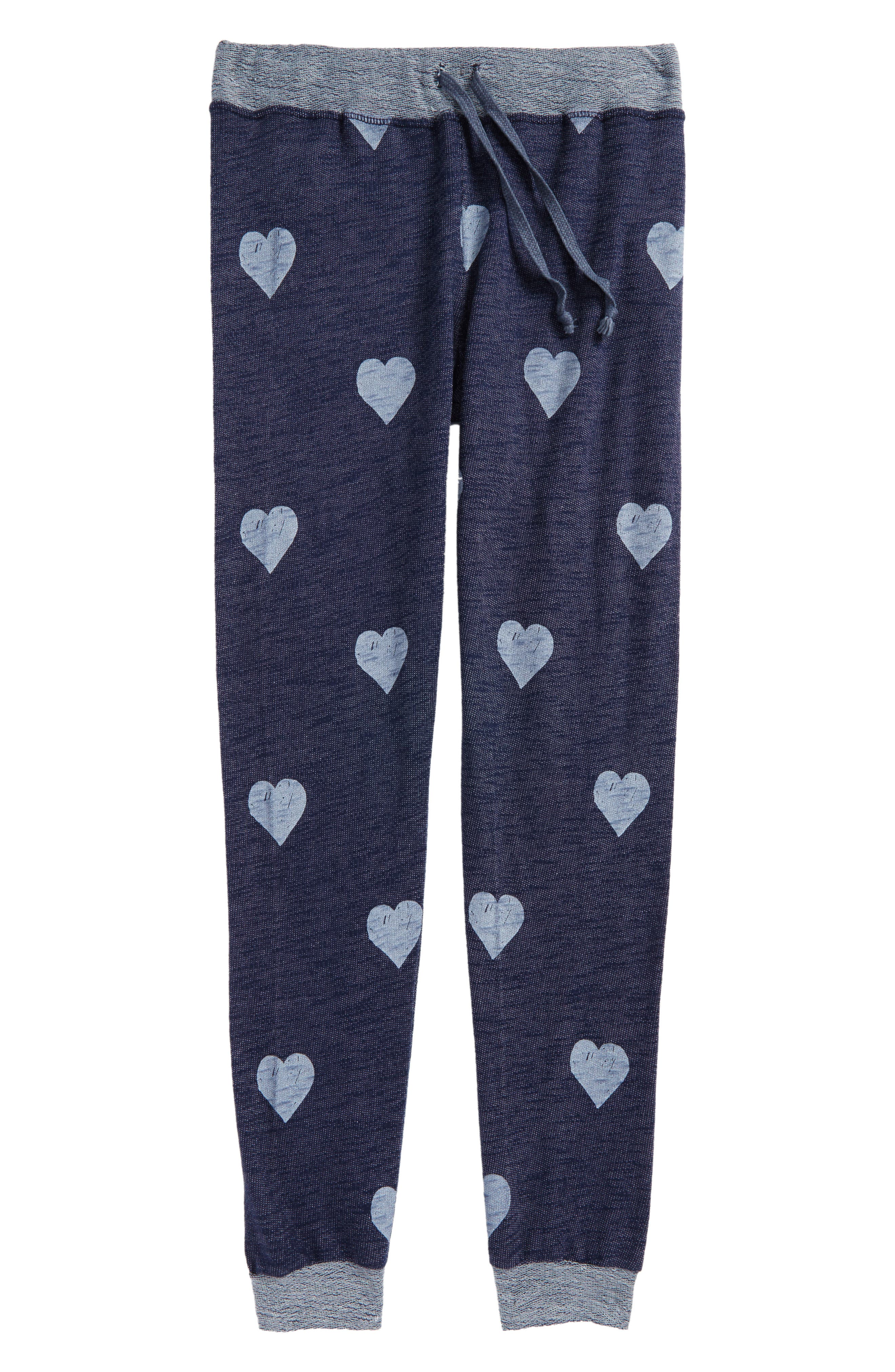 Heart Print Sweatpants,                             Main thumbnail 1, color,                             Indigo