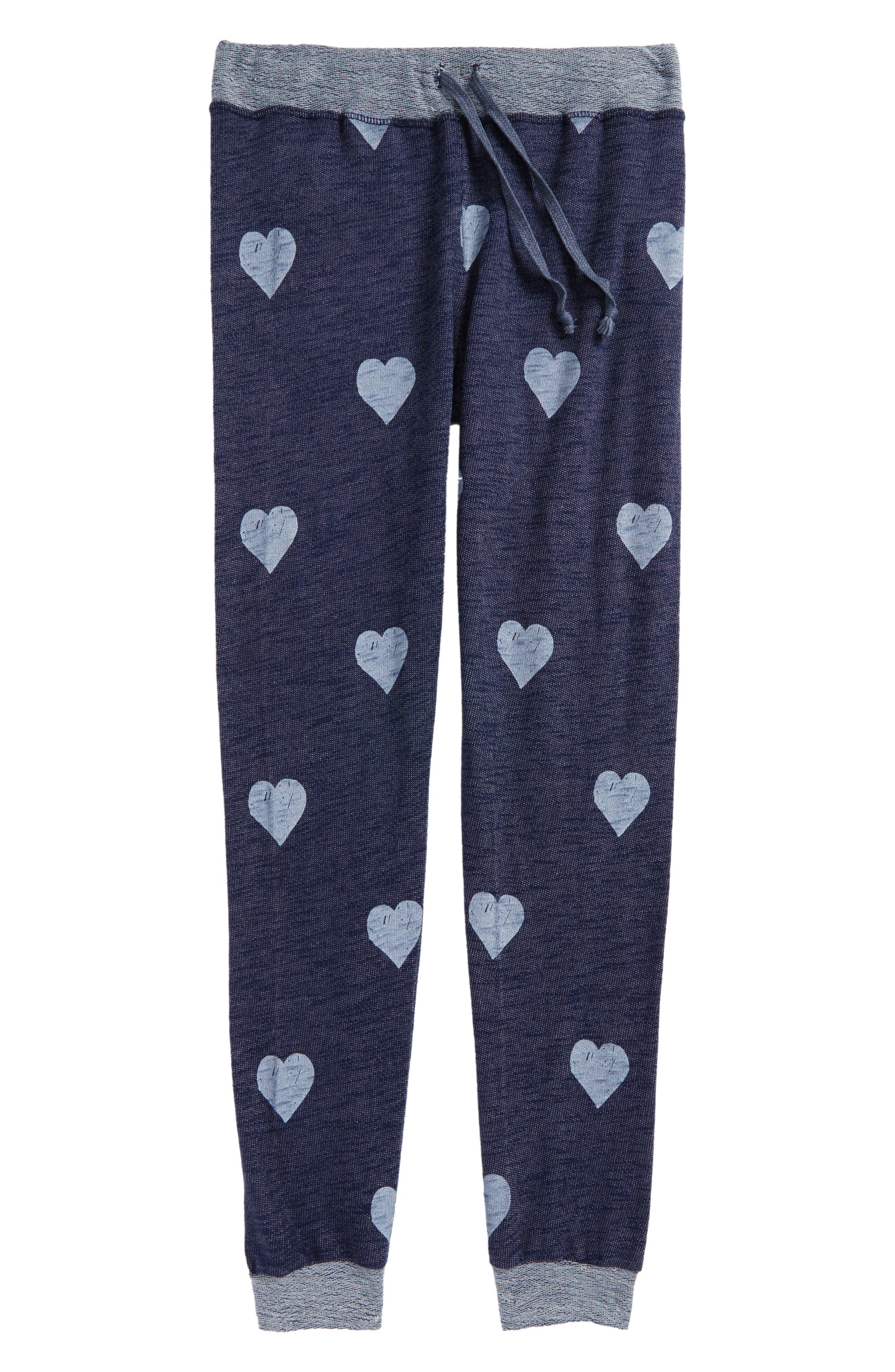Main Image - T2 Love Heart Print Sweatpants (Big Girls)