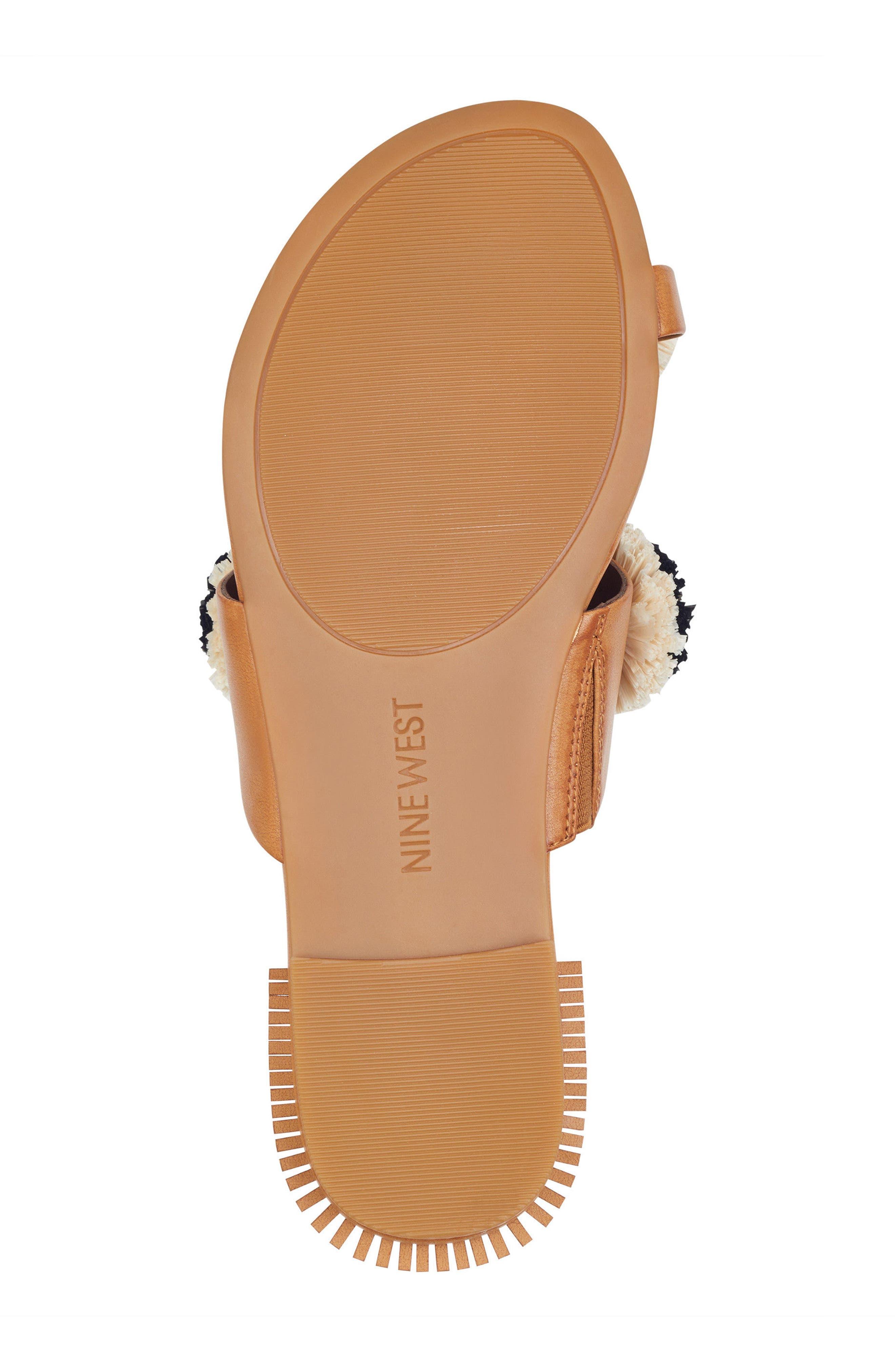 Sendran Raffia Flower Sandal,                             Alternate thumbnail 6, color,                             Dark Natural Faux Leather