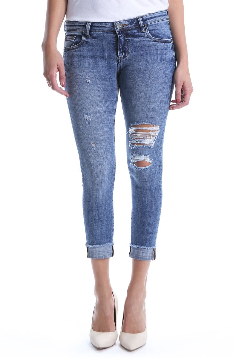 Amy Ripped Straight Leg Roll Cuff Jeans