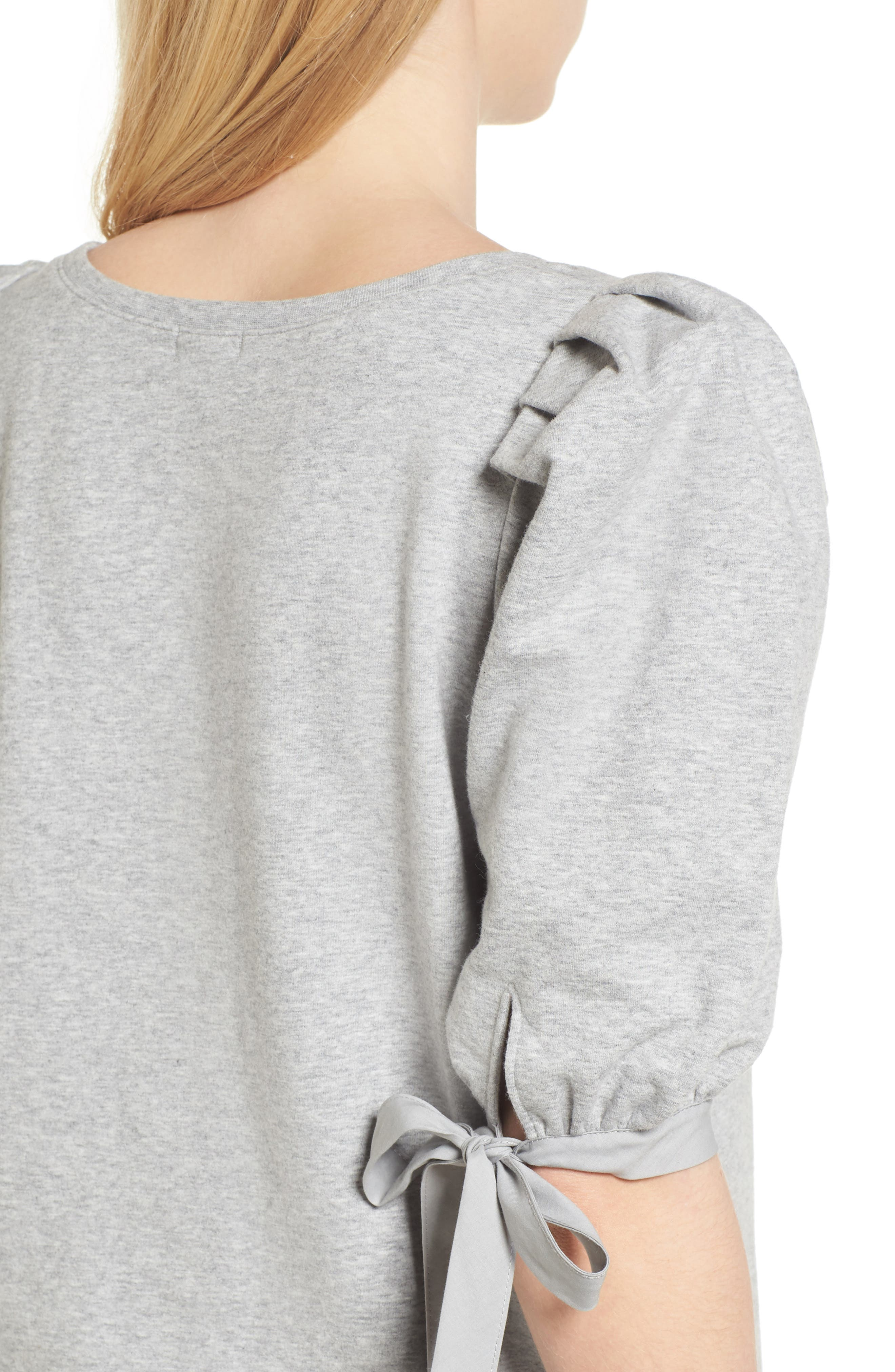 Puff Sleeve Top,                             Alternate thumbnail 4, color,                             Grey Heather