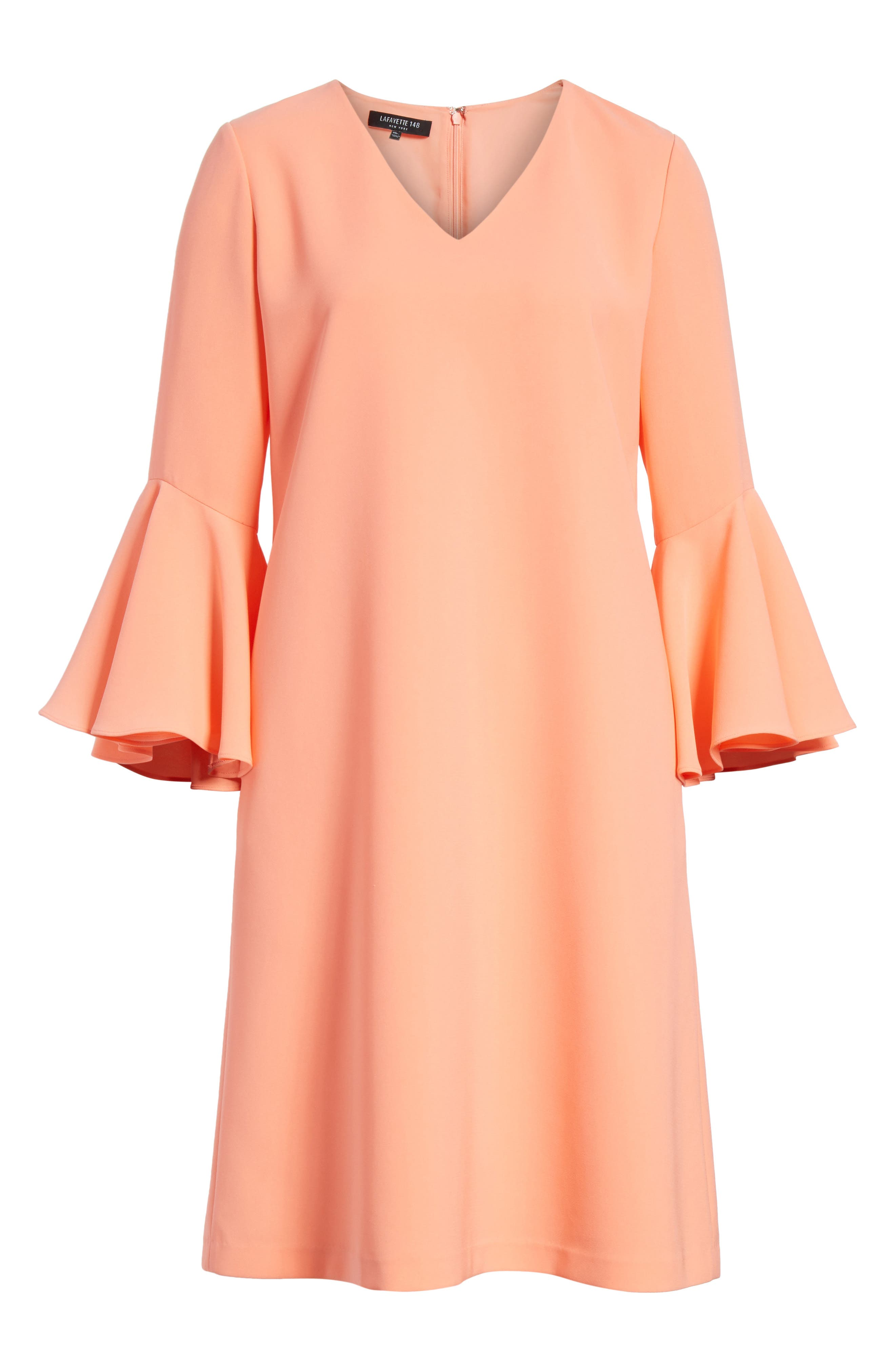 Holly Bell Sleeve Dress,                             Alternate thumbnail 7, color,                             Coral Reef