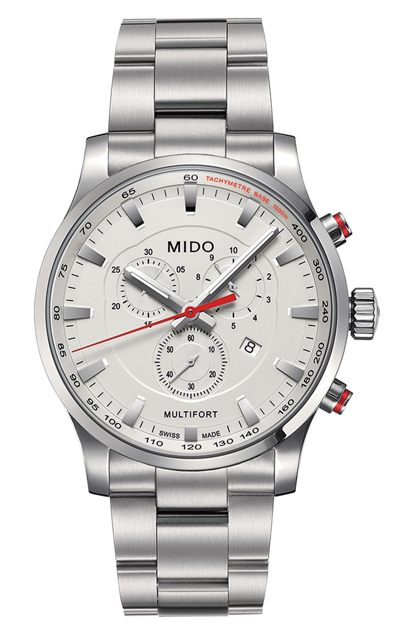 Multifort Chronograph Bracelet Watch, 42mm,                         Main,                         color, Silver/ White/ Silver