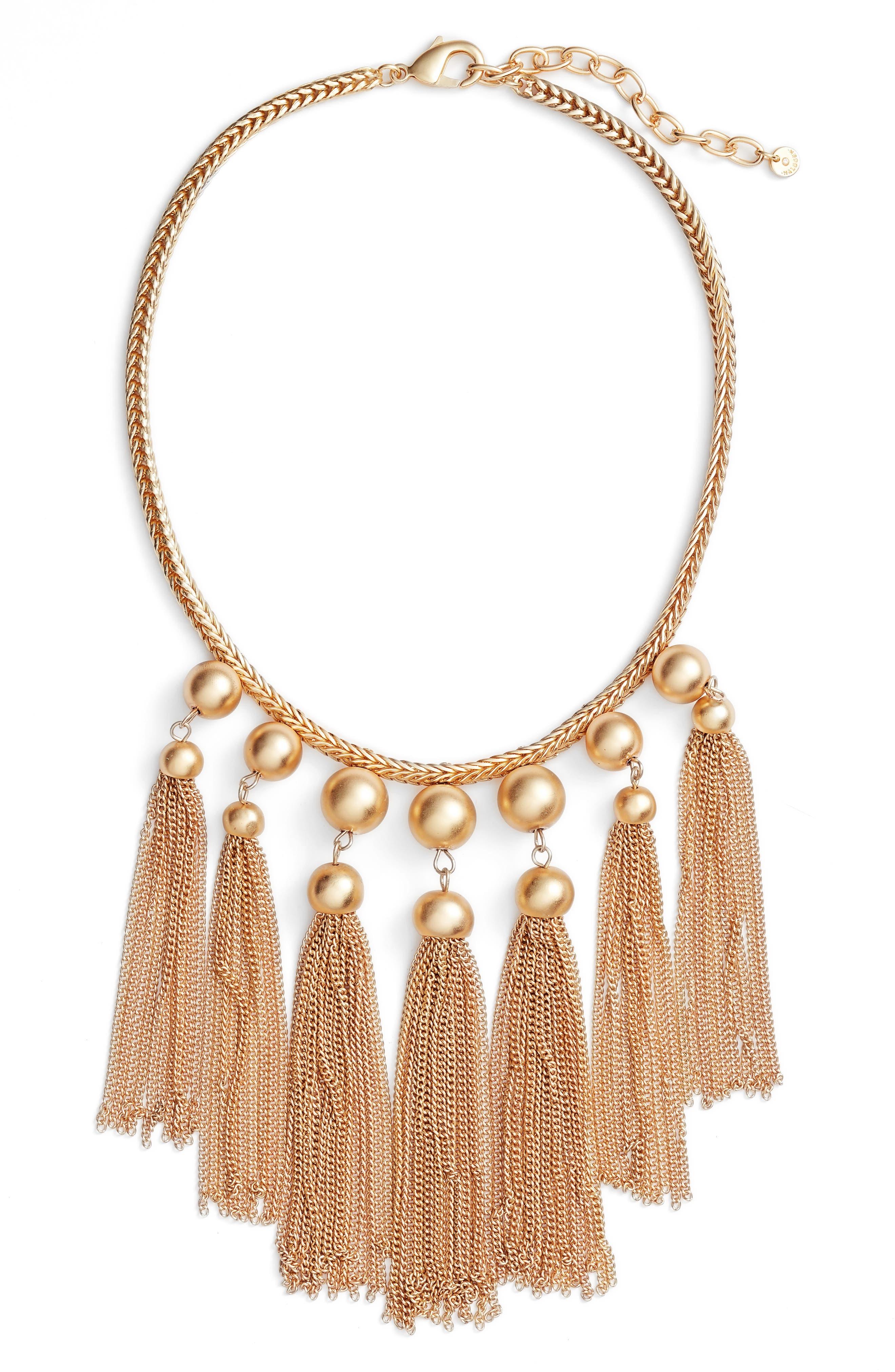 Halogen® Sphere Tassel Bib Necklace