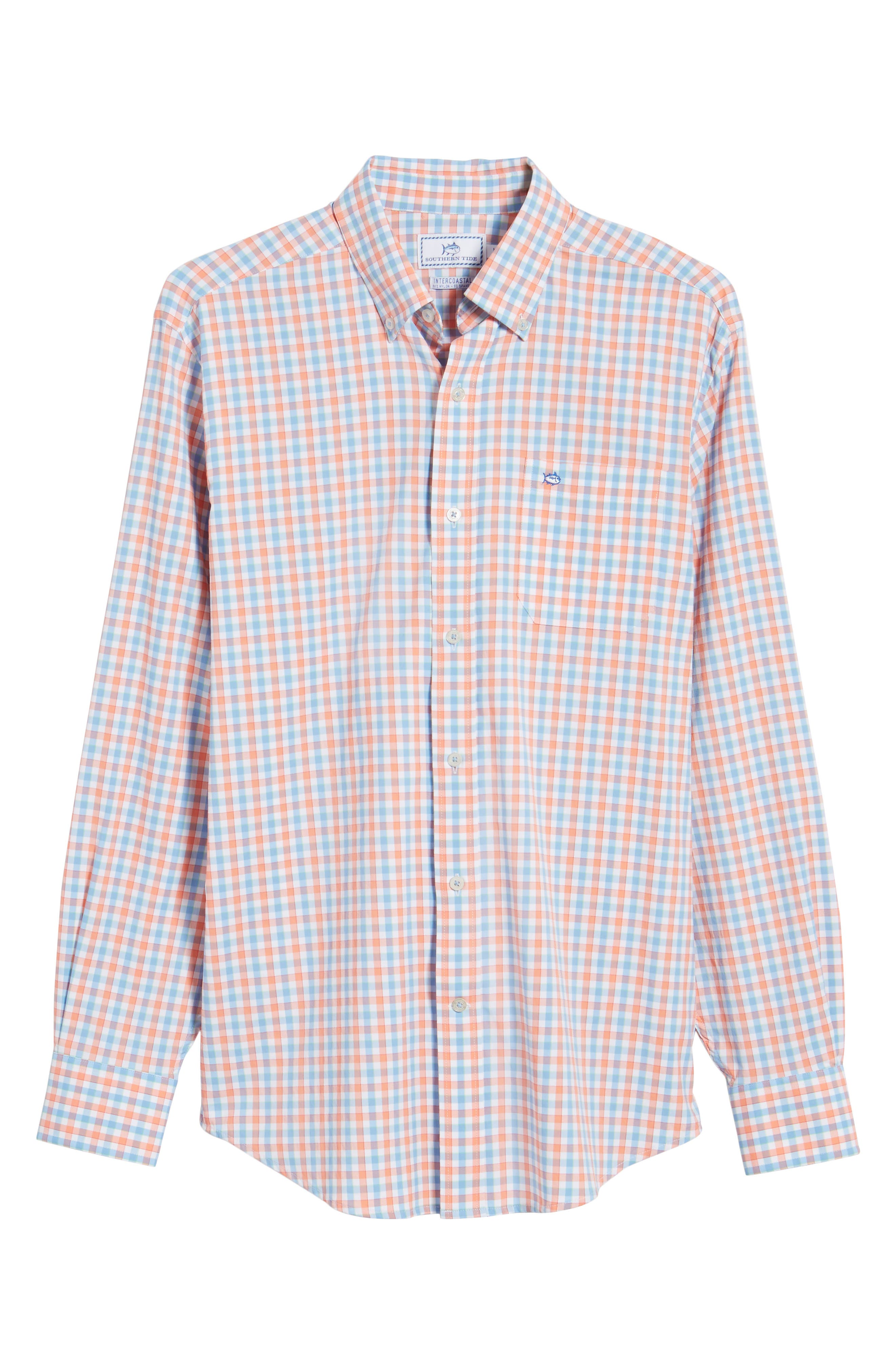 Market Square Regular Fit Stretch Check Sport Shirt,                             Alternate thumbnail 6, color,                             Nectar Coral