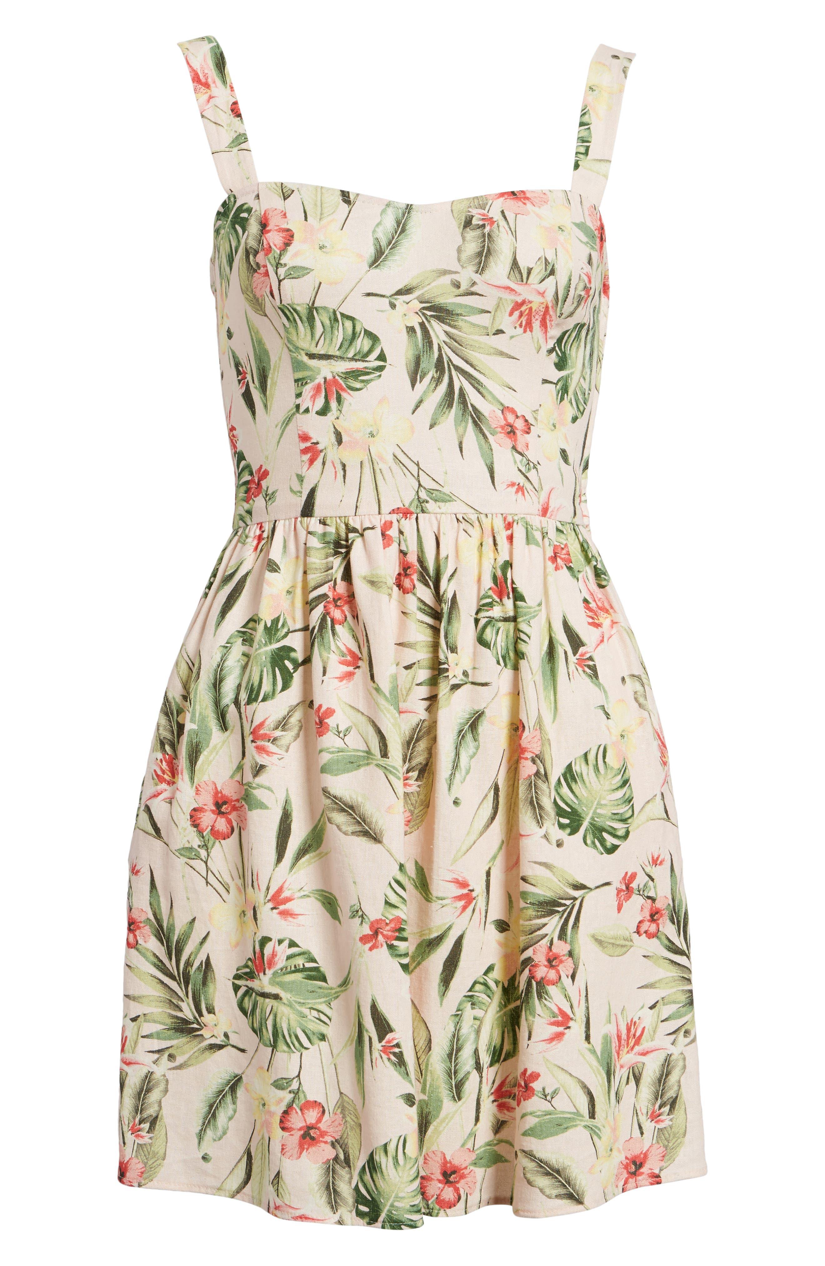Tropical Lace Back Minidress,                             Alternate thumbnail 6, color,                             Blush/ Green