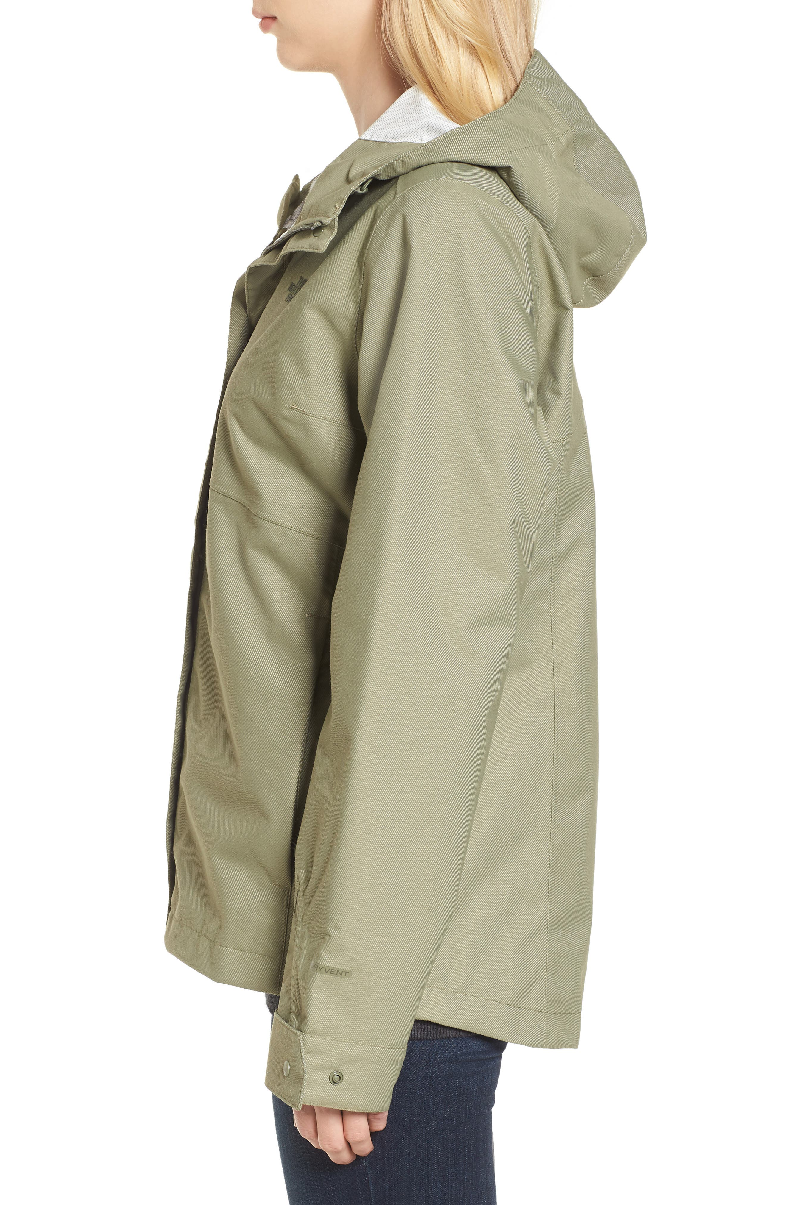 Berrien Waterproof Jacket,                             Alternate thumbnail 3, color,                             Deep Lichen Green Denim