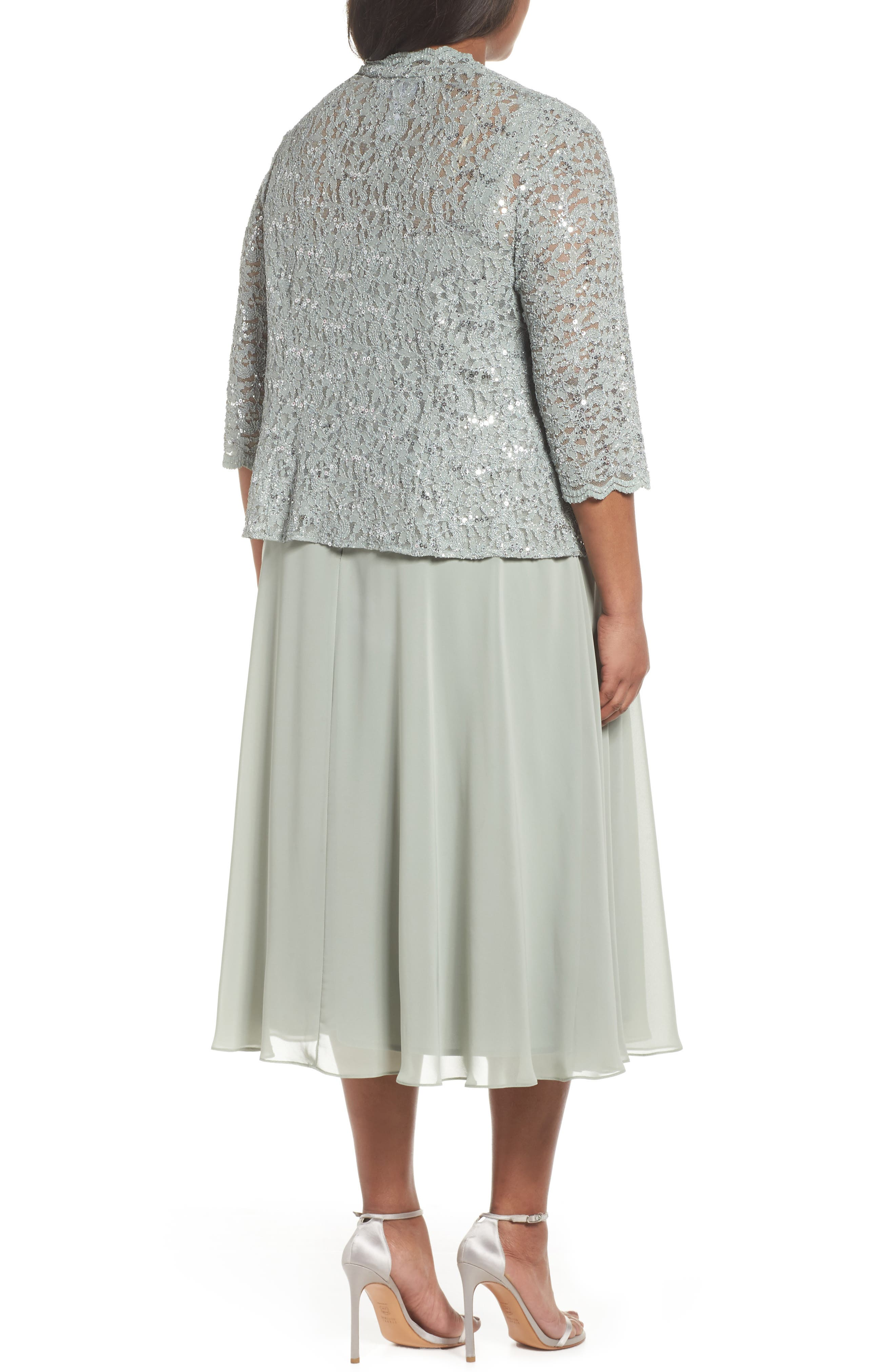 Sequin Lace & Satin Dress with Jacket,                             Alternate thumbnail 3, color,                             Ice Sage